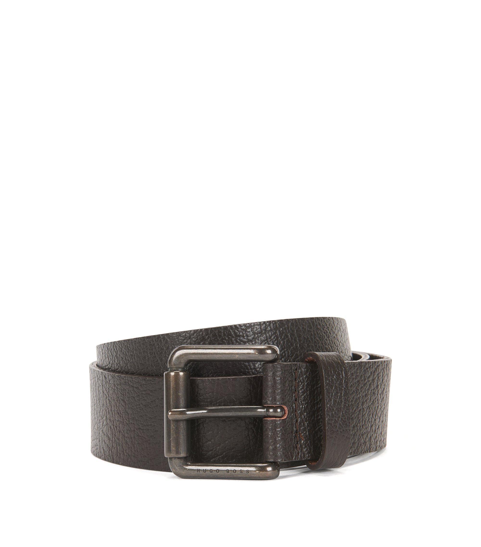 Cintura in pelle martellata con fibbia arrotondata color canna di fucile, Marrone scuro