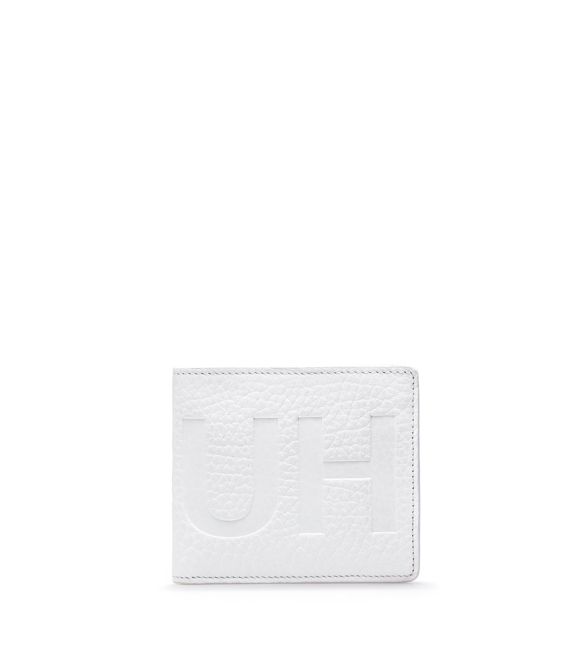 Cartera plegable en piel con logo invertido, Blanco