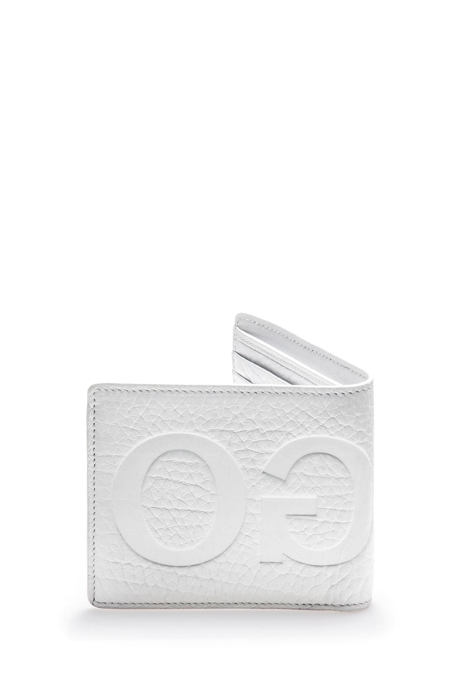 Reverse-logo leather bifold wallet