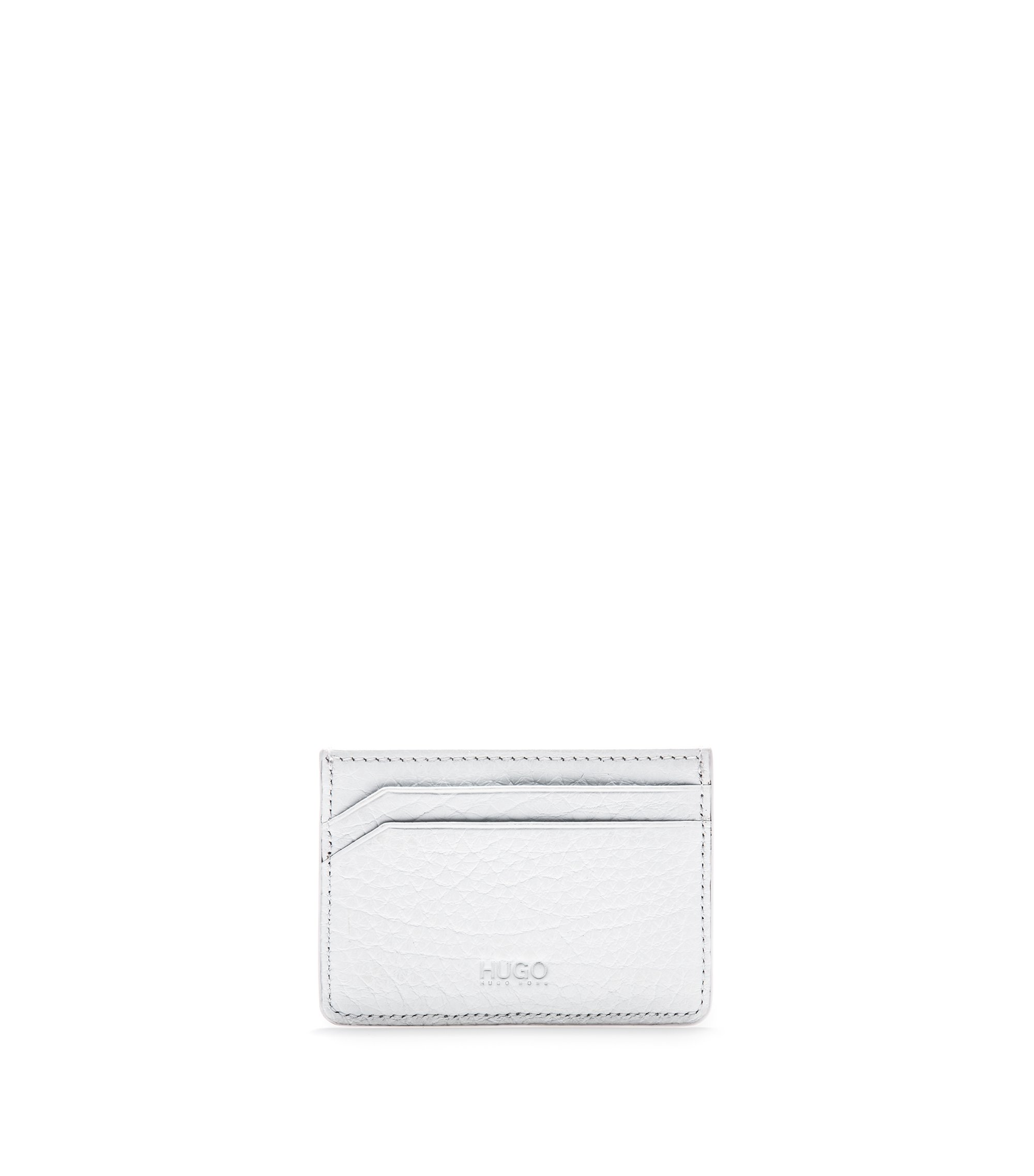 Card case in grained leather, White