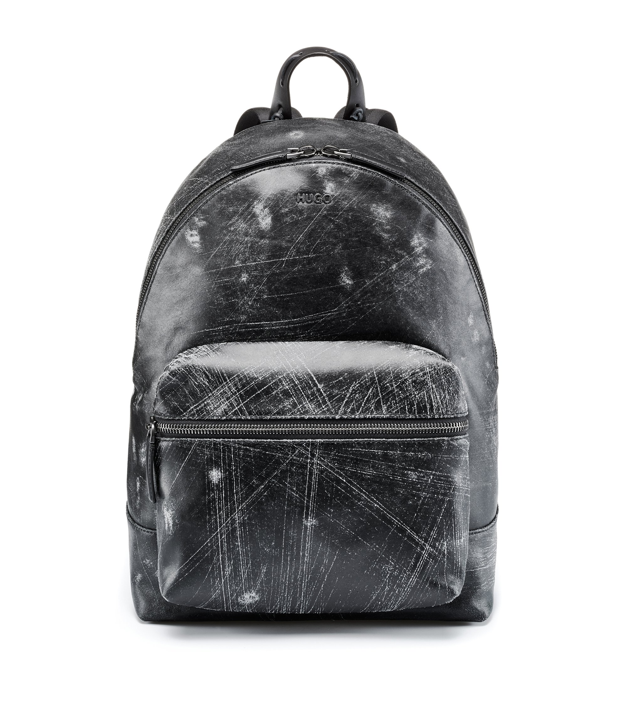 Italian-leather backpack with abstract scratch pattern, Black