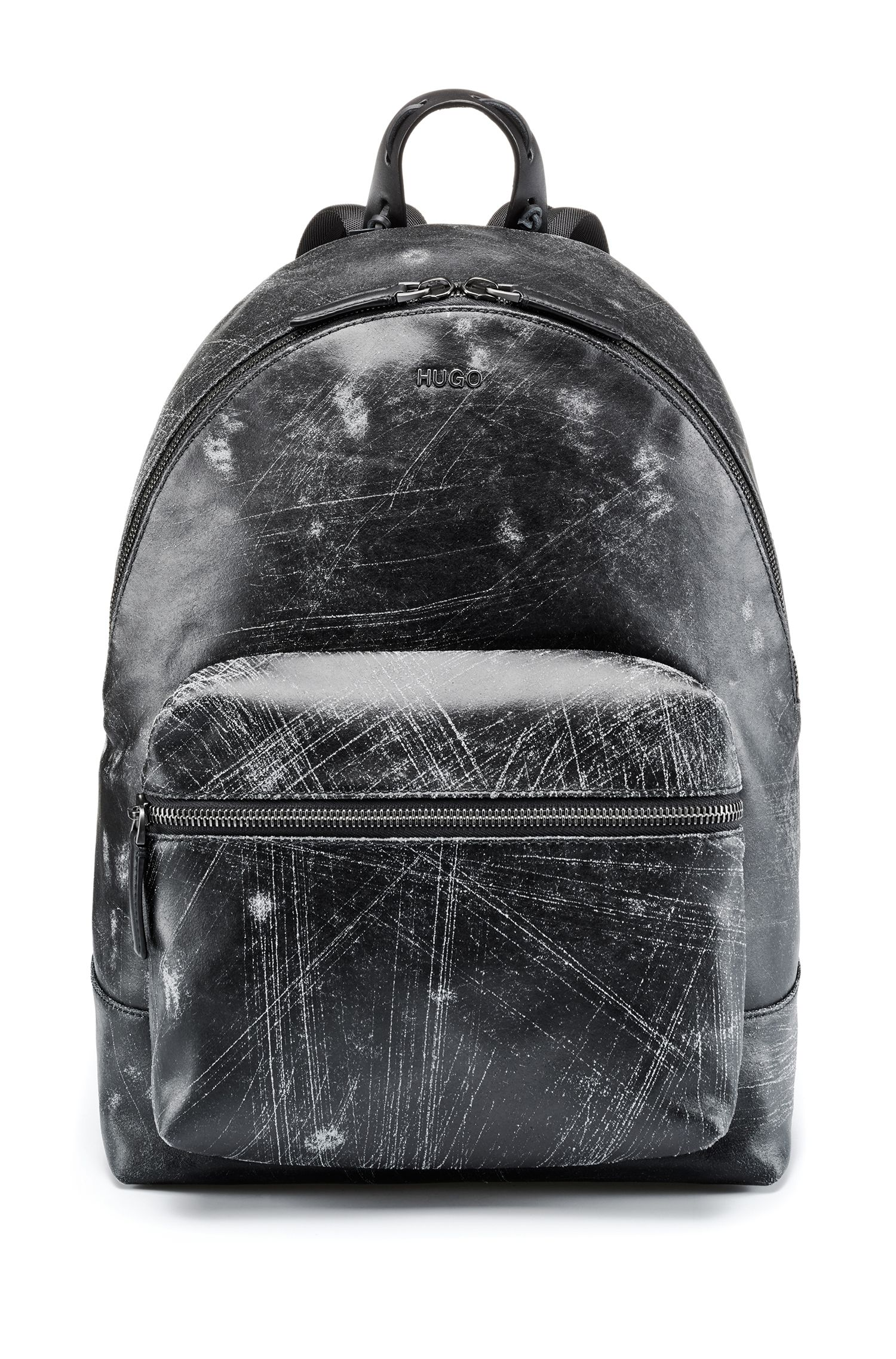Rucksack aus italienischem Leder mit abstraktem Muster