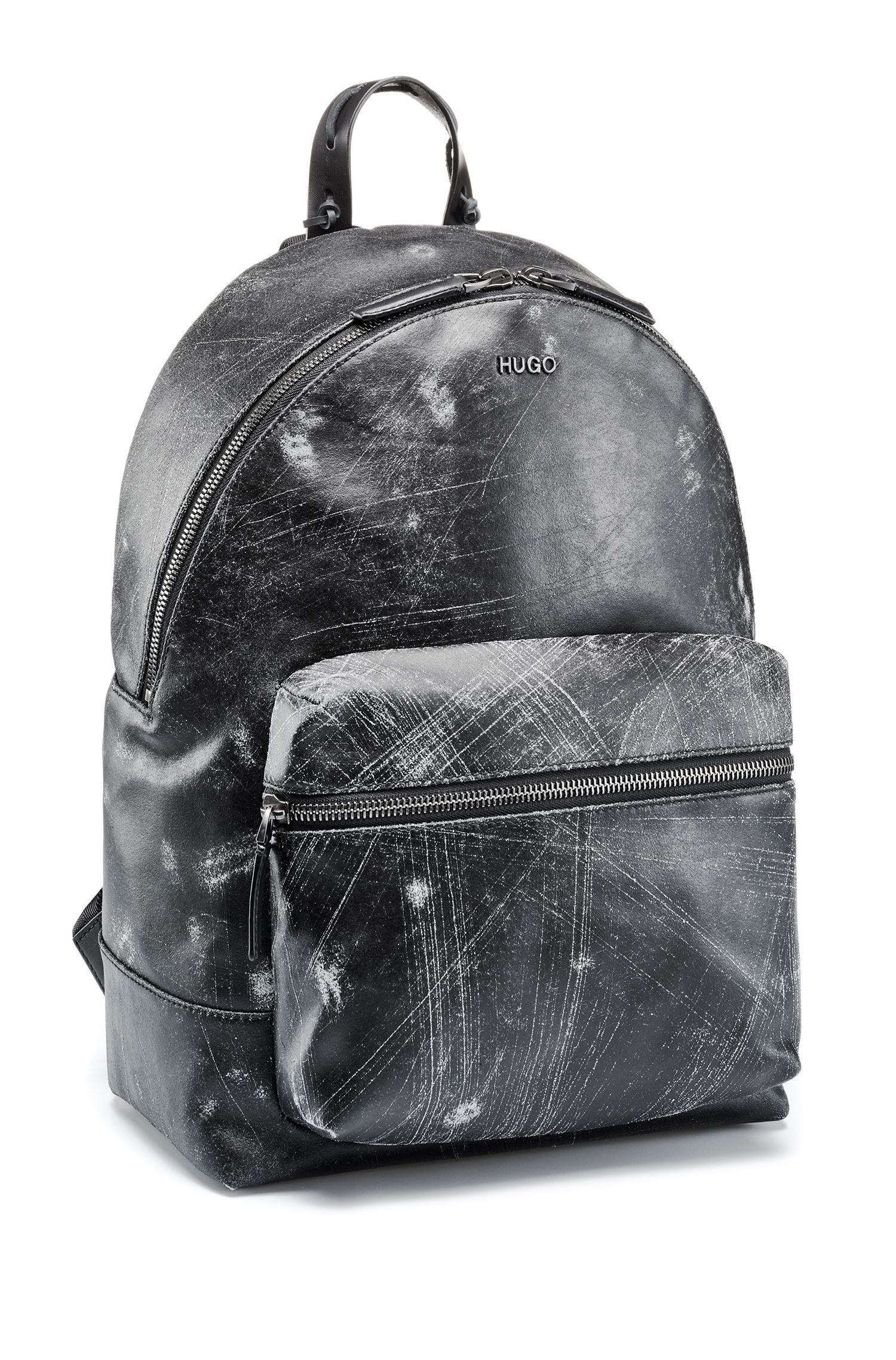 Italian-leather backpack with abstract scratch pattern