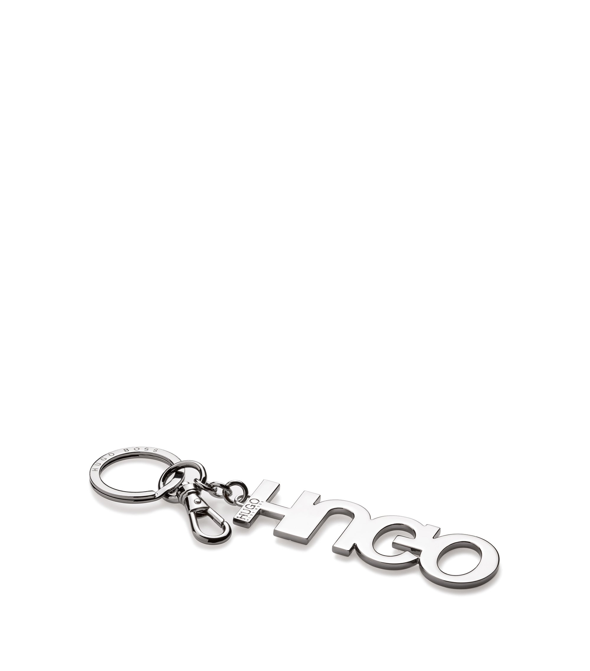 Polished metal logo key ring, Silver