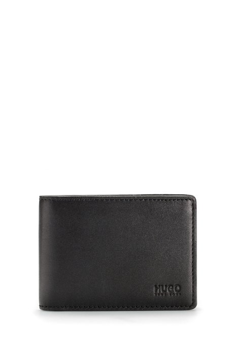 Folding wallet with flap in smooth leather, Black