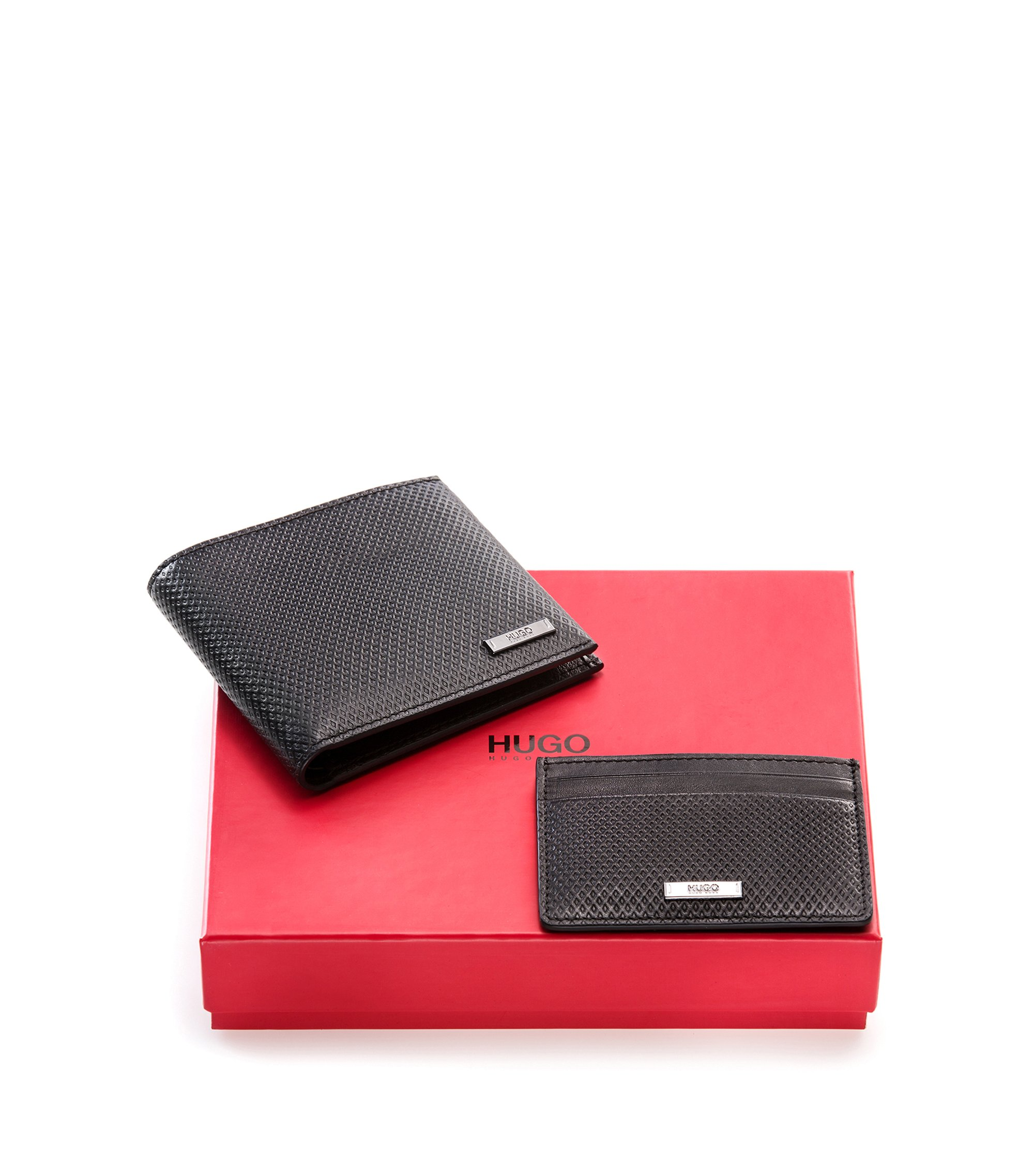 Geometric-embossed leather wallet and card holder gift set, Black