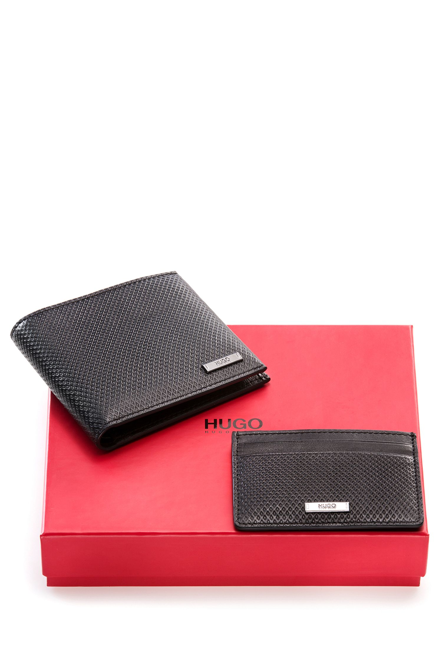 Geschenk-Set mit Geldbörse und Kartenetui aus Leder mit geometrischer Prägung
