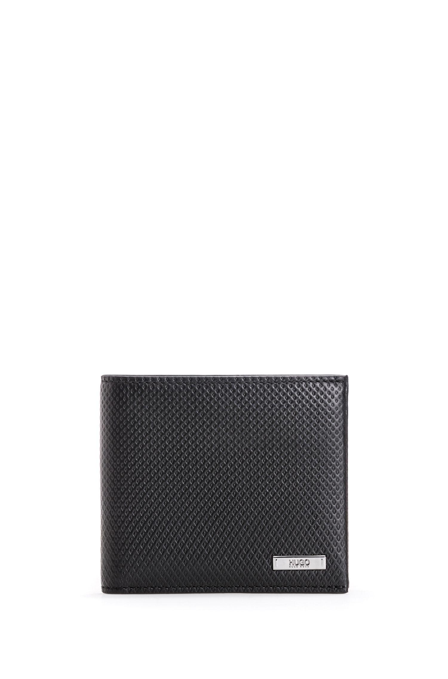 Set de regalo con tarjetero y cartera de piel con grabado geométrico