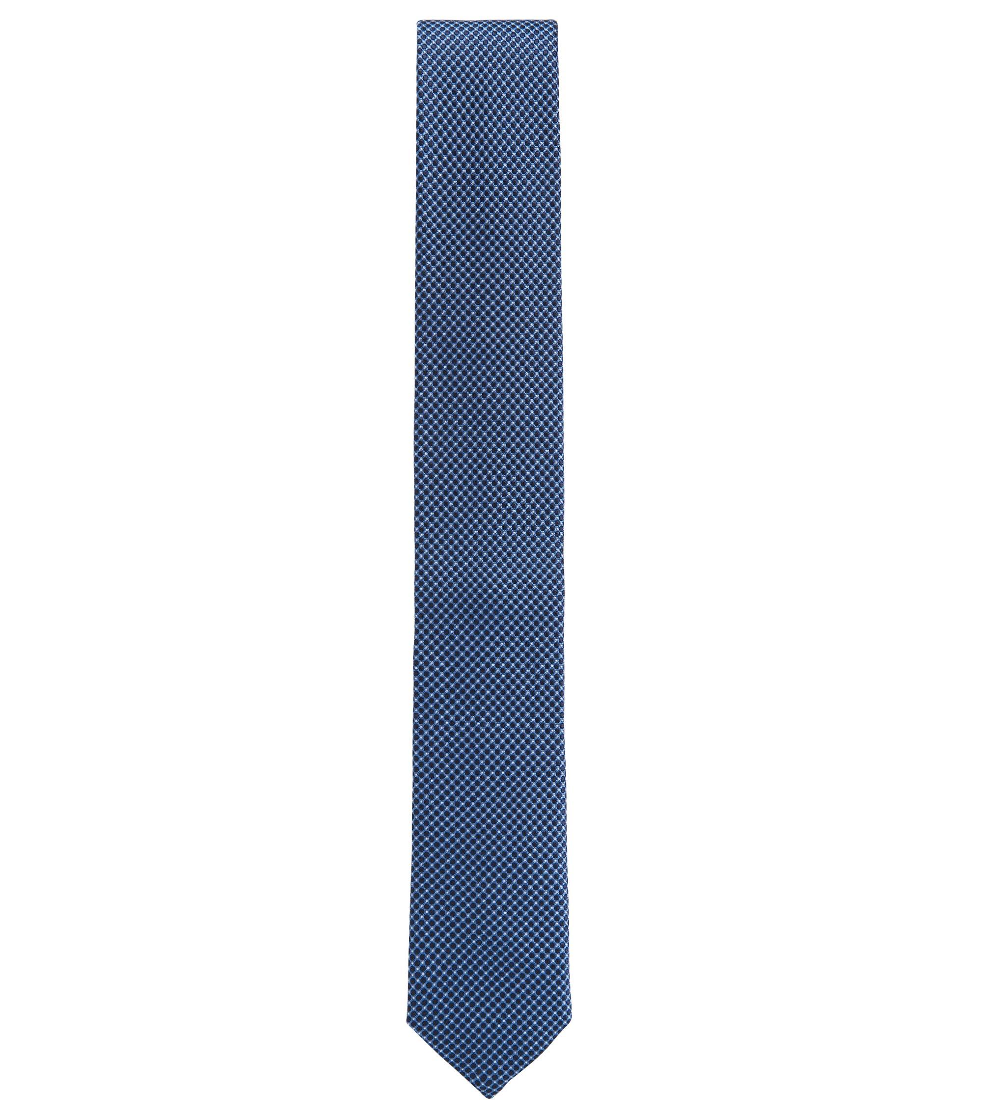 Cravate en jacquard de soie confectionnée en Italie, à micromotif, Bleu