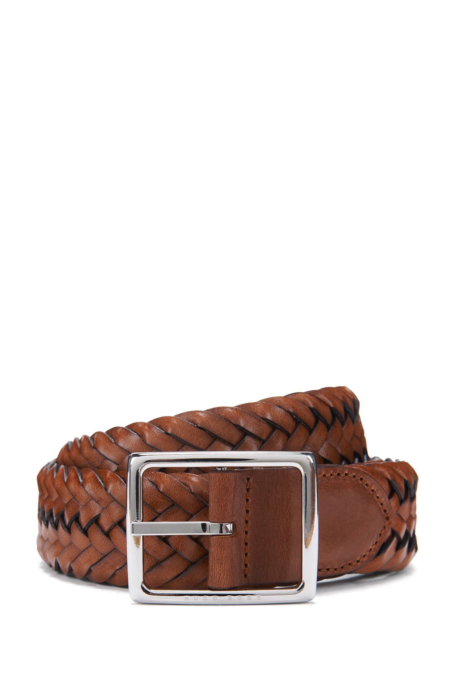 Woven reversible belt in fabric and leather