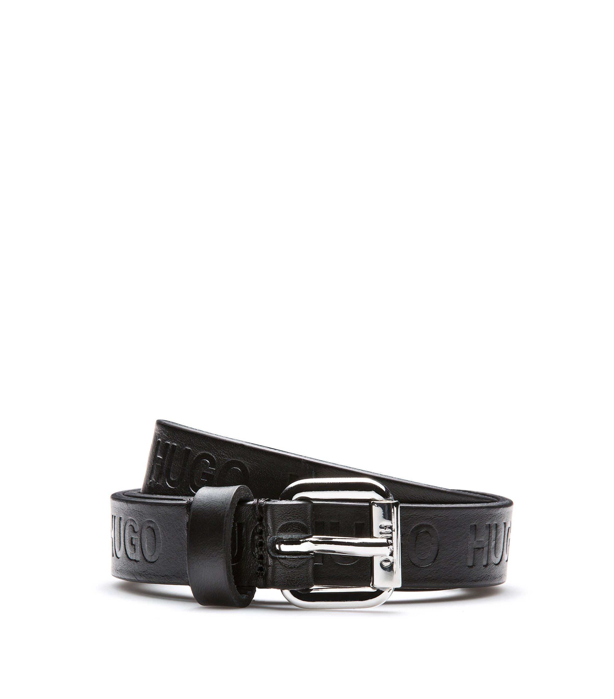 Coated-leather belt with embossed logo detail, Black