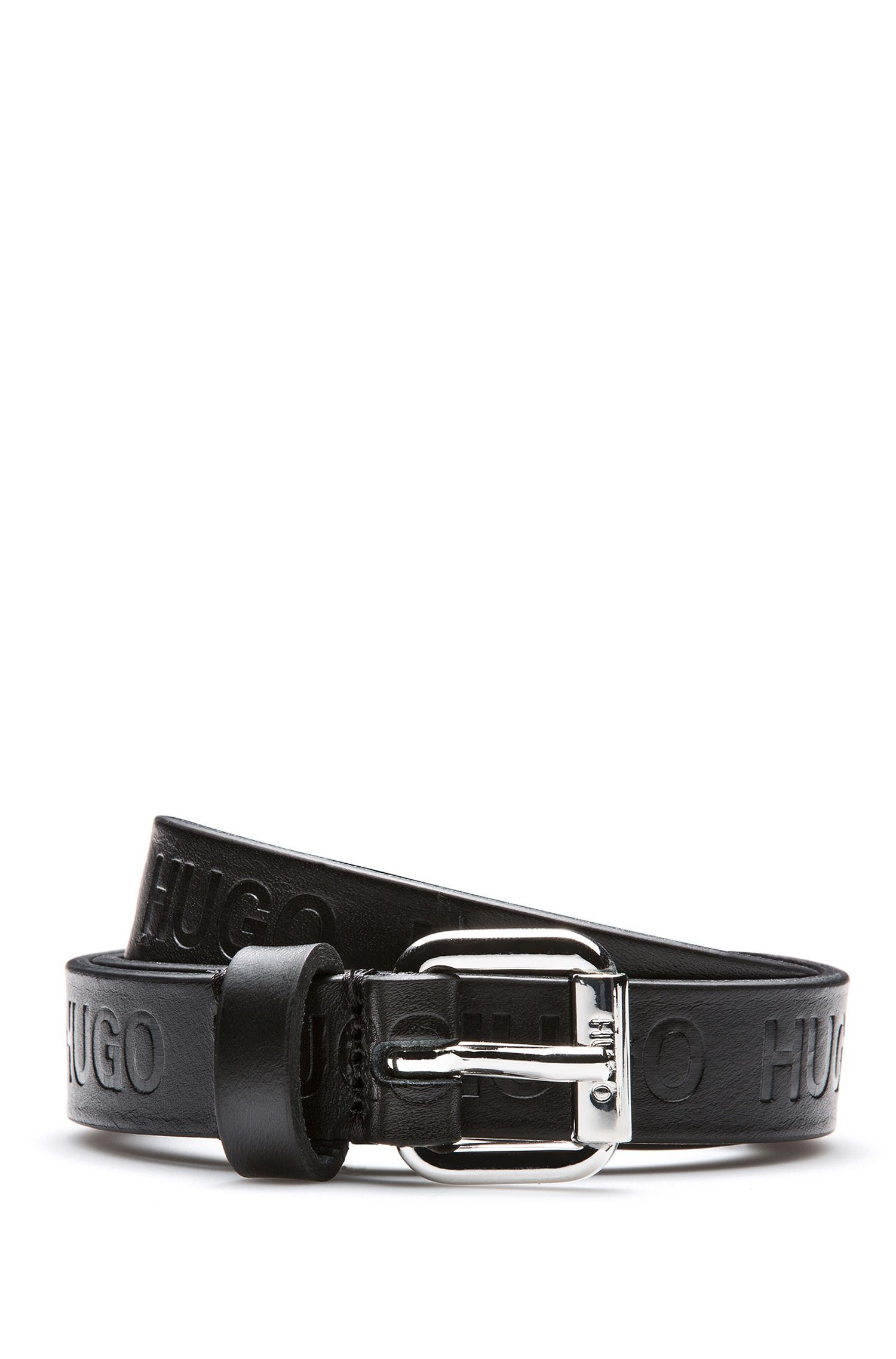 Coated-leather belt with embossed logo detail