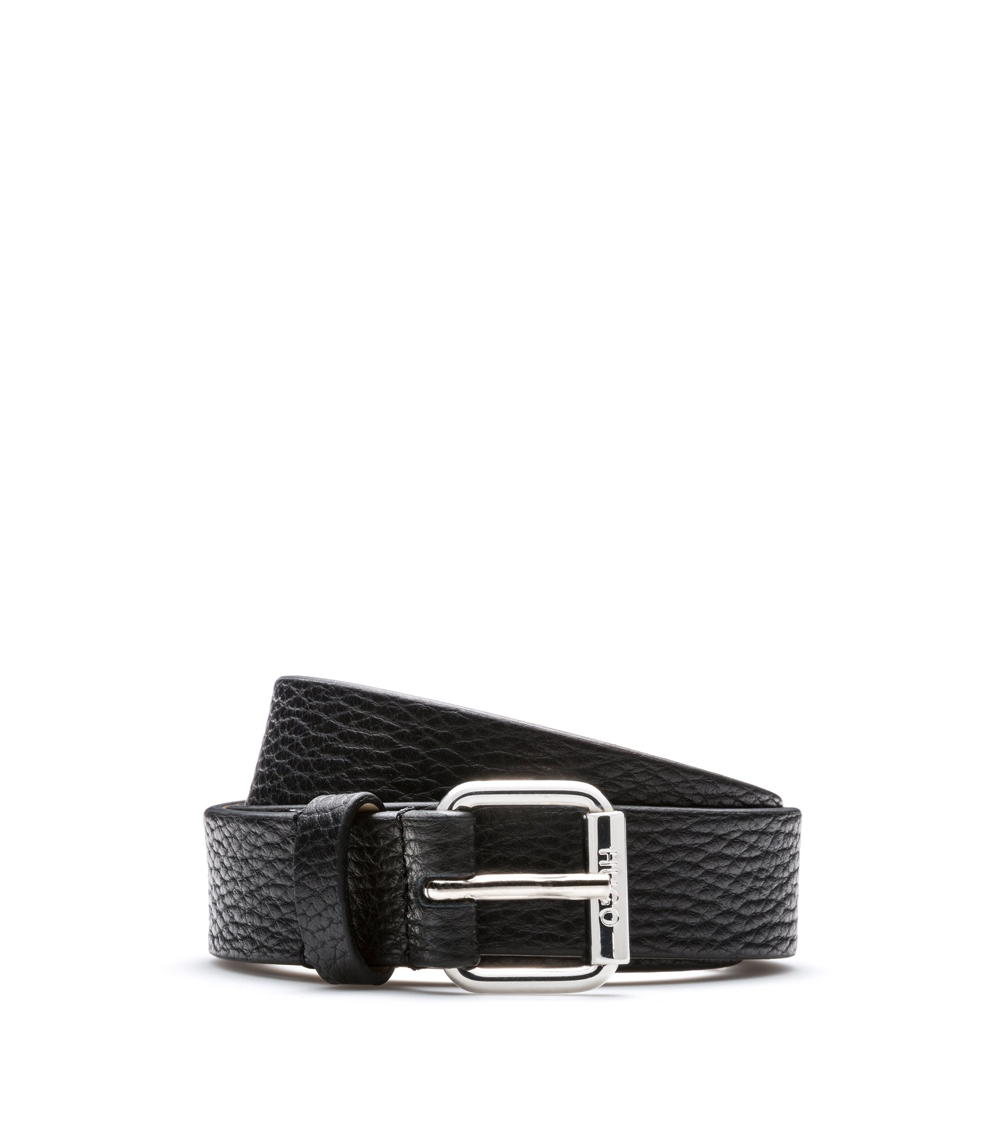 Grained-leather belt with polished buckle, Black