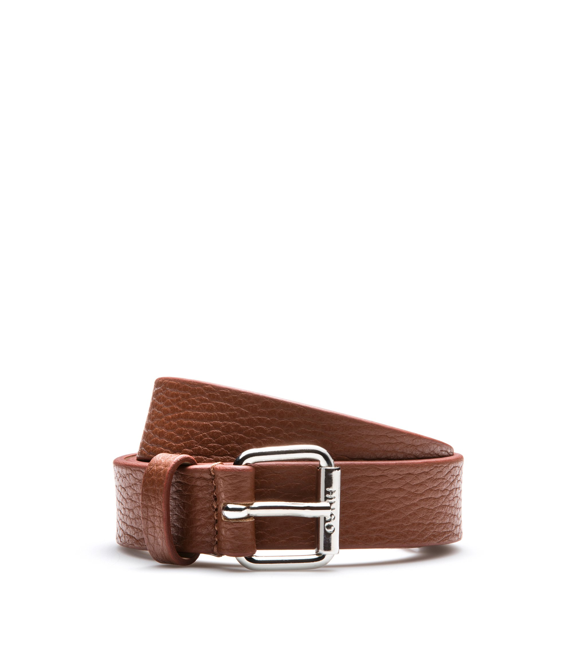 Grained-leather belt with polished buckle, Brown