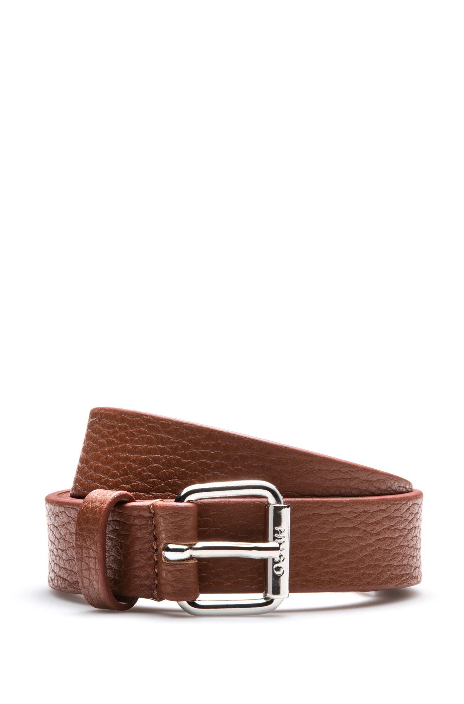 Grained-leather belt with polished buckle