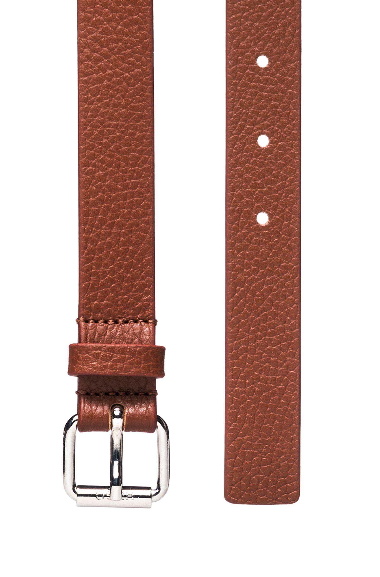 Gürtel aus genarbtem Leder mit polierter Dornschließe