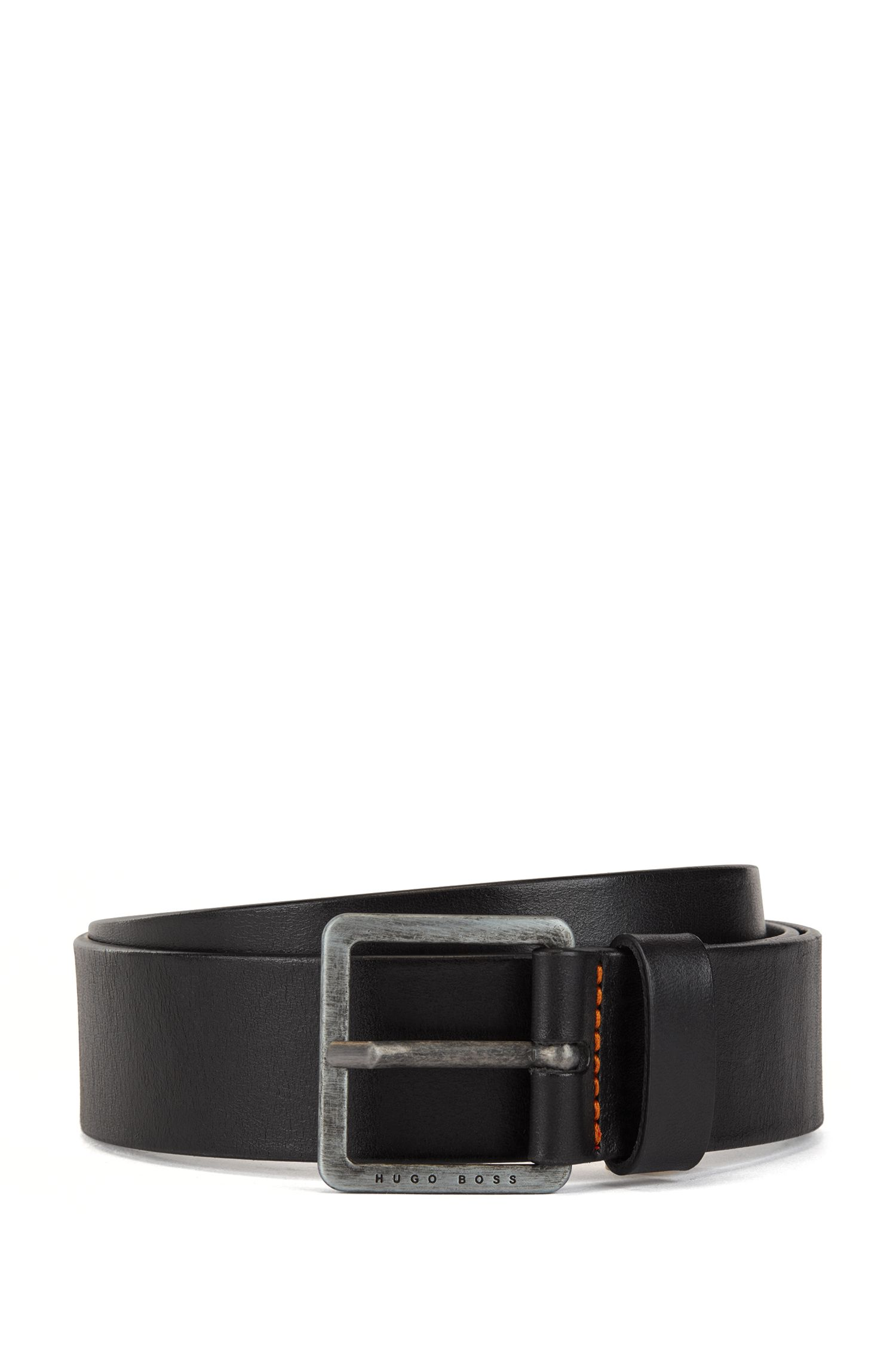 Leather belt with signature stitching, Black