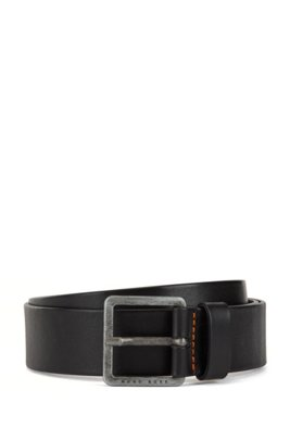 Smooth-leather belt with brushed-effect buckle, Black