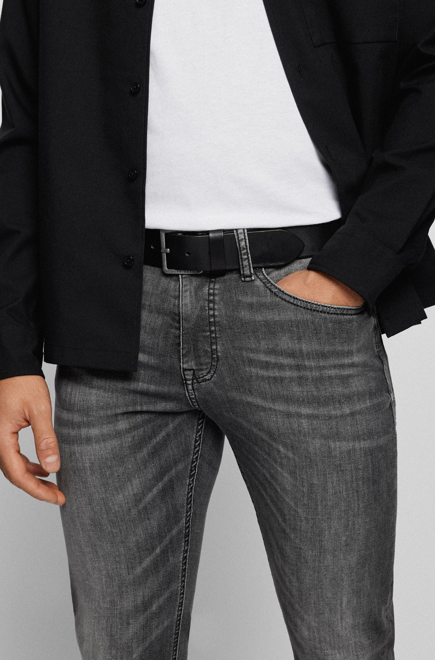 Cinturón de piel con costuras de la marca, Negro