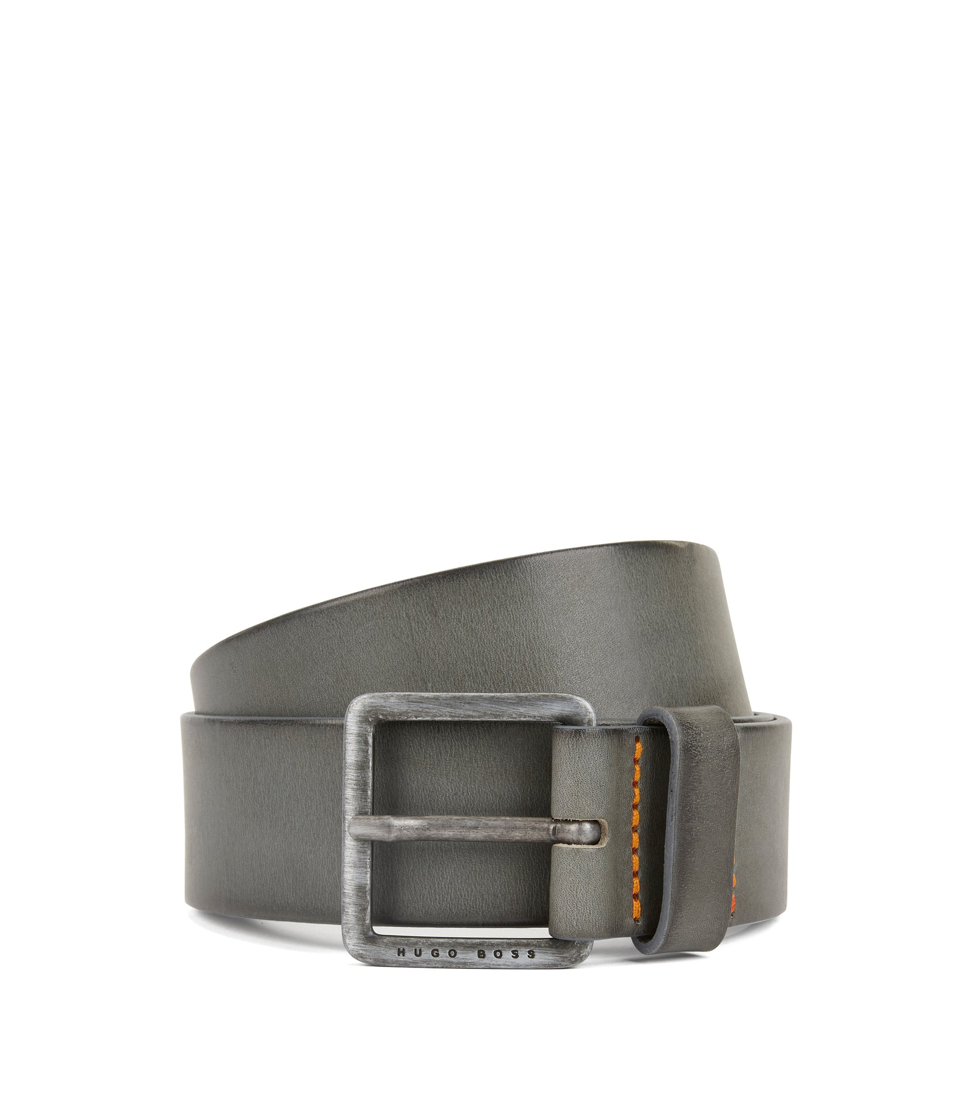 Leather belt with signature stitching, Grey