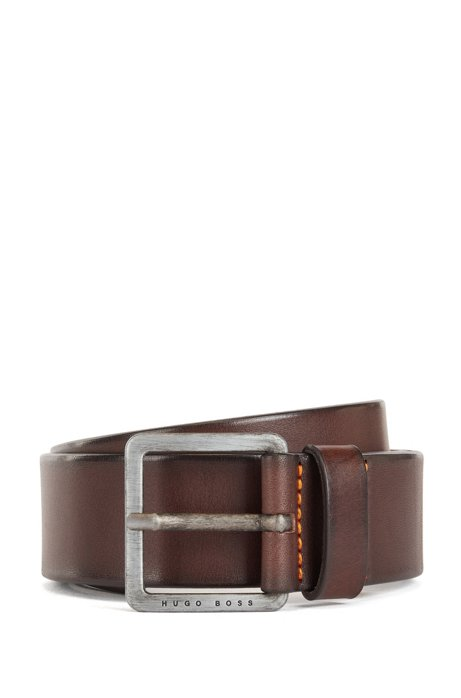 Smooth-leather belt with brushed-effect buckle, Dark Brown