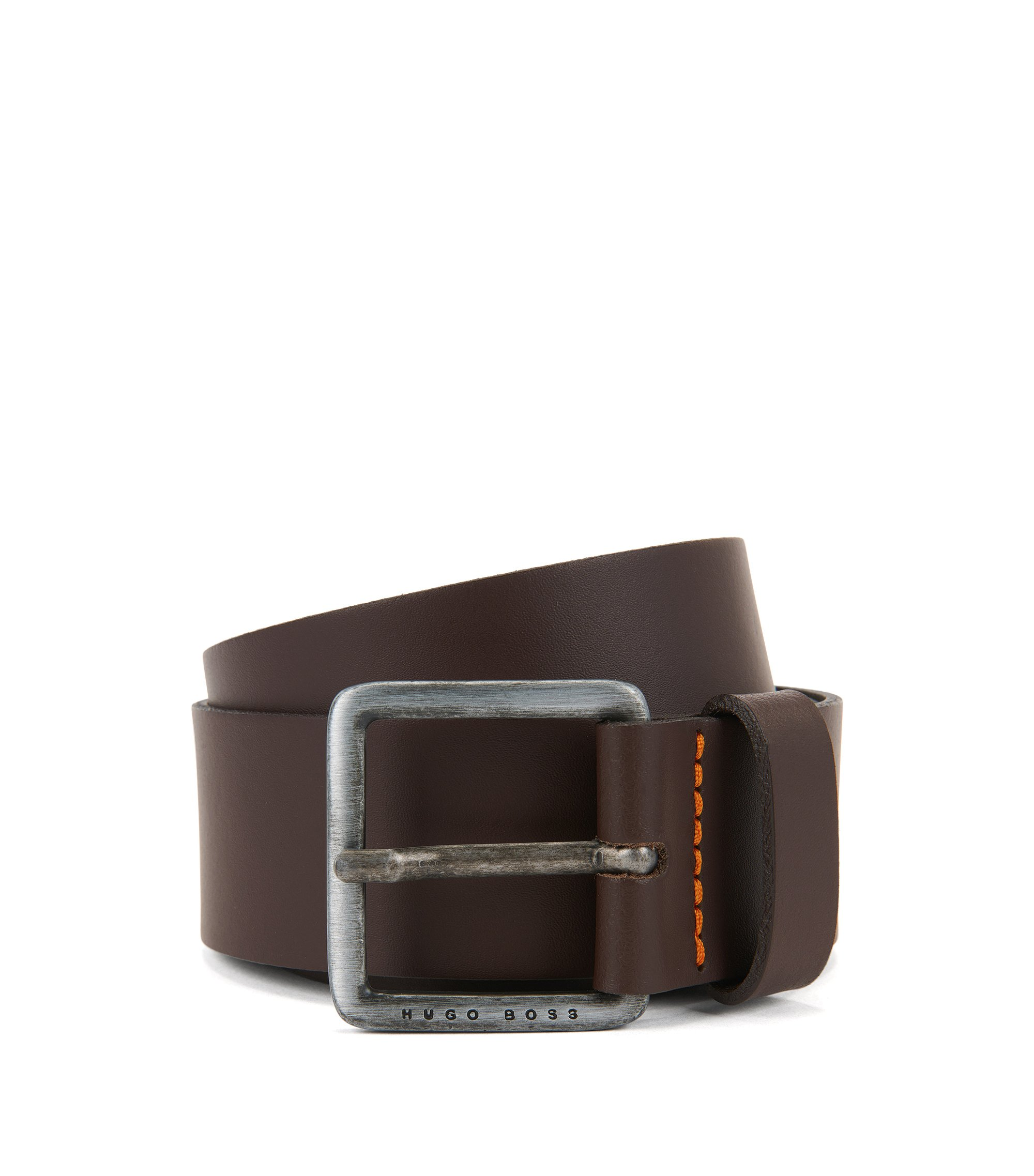 Leather belt with signature stitching, Dark Brown
