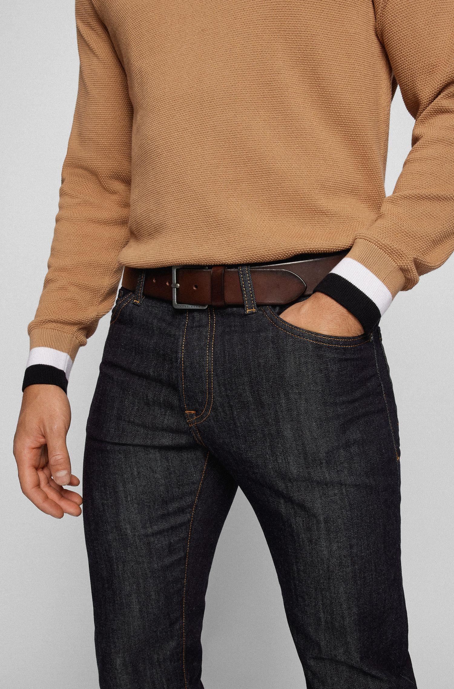 Leather belt with signature stitching, Dark Brown