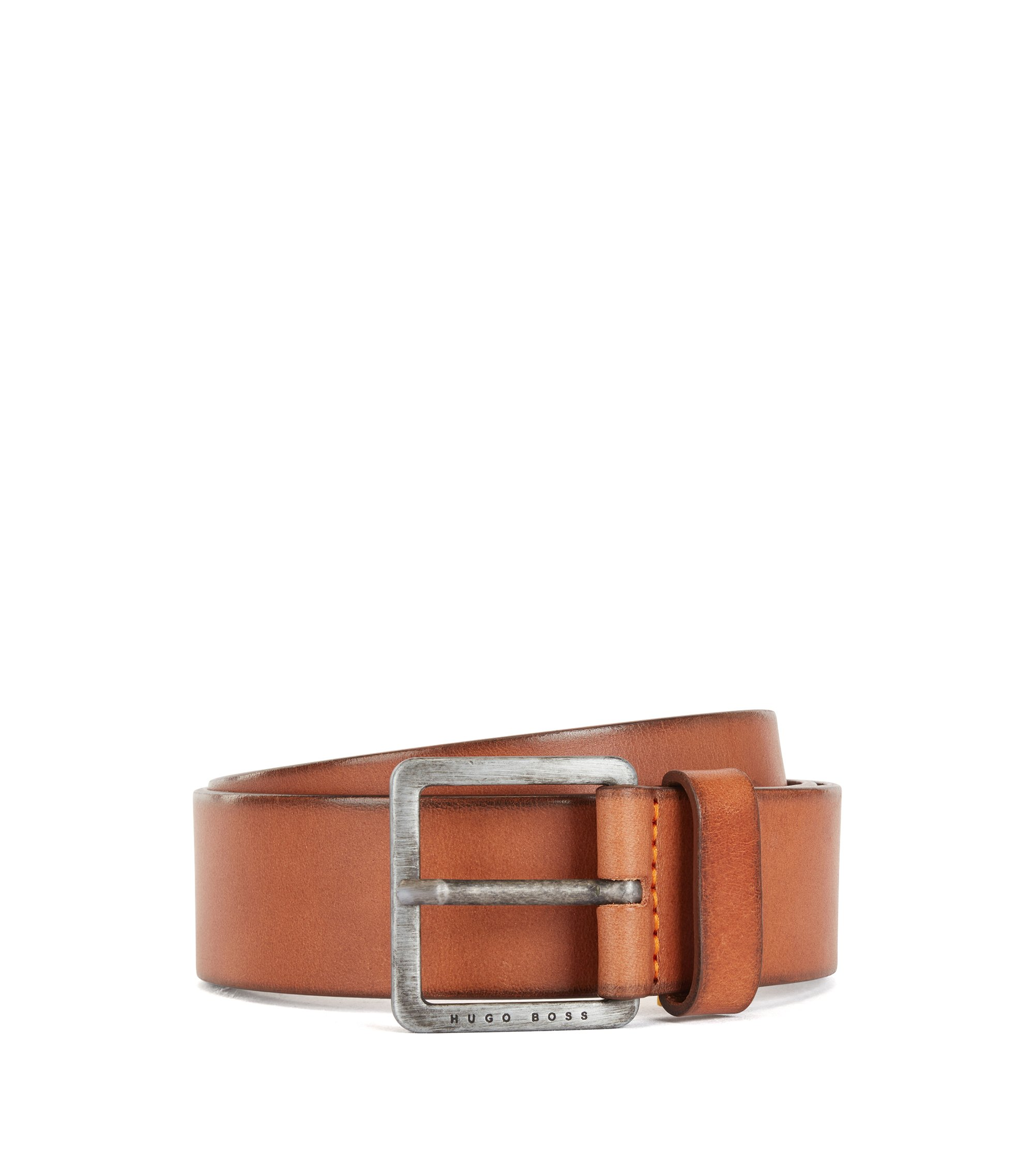 Leather belt with signature stitching, Brown