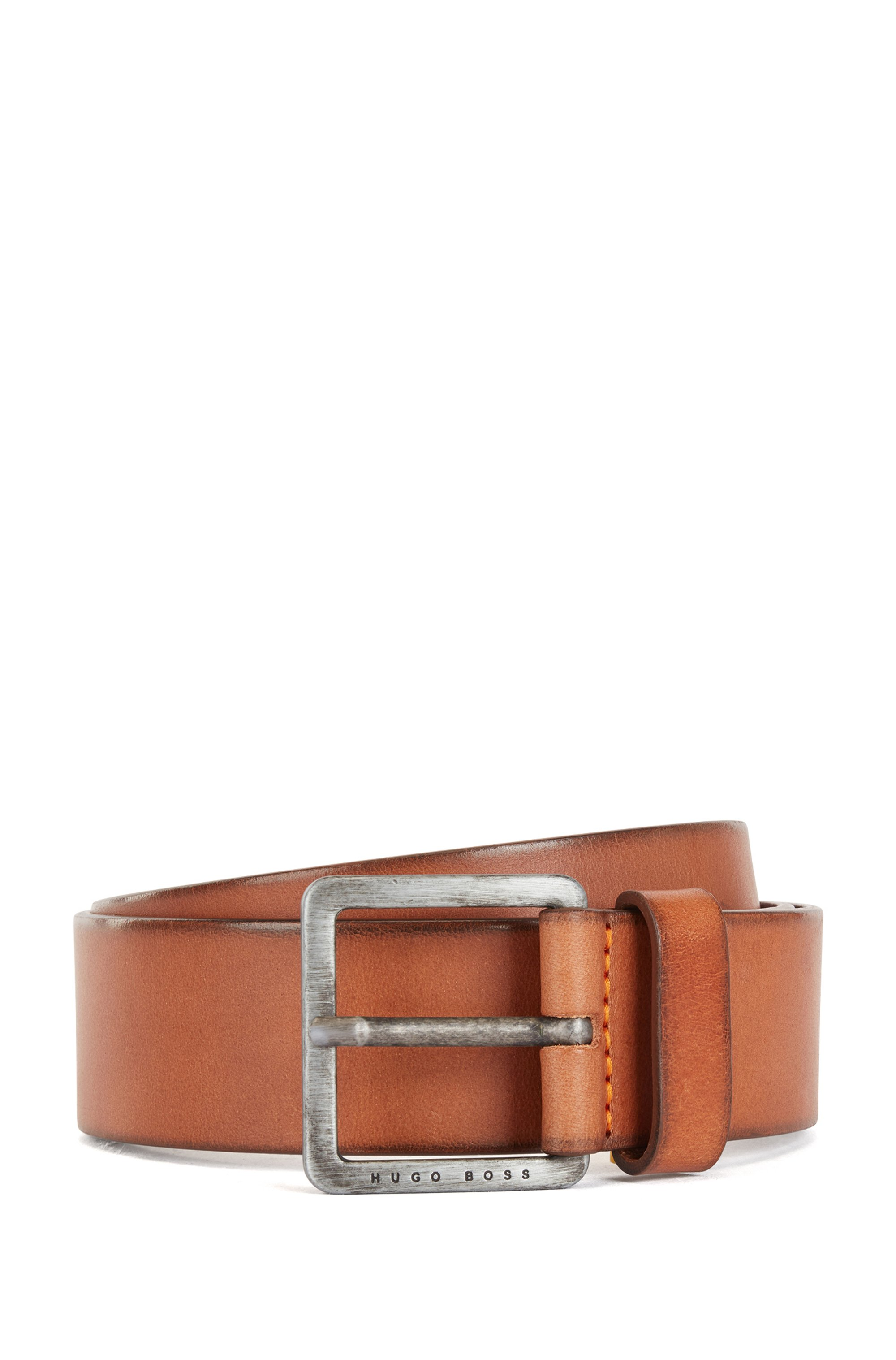 Smooth-leather belt with brushed-effect buckle, Brown
