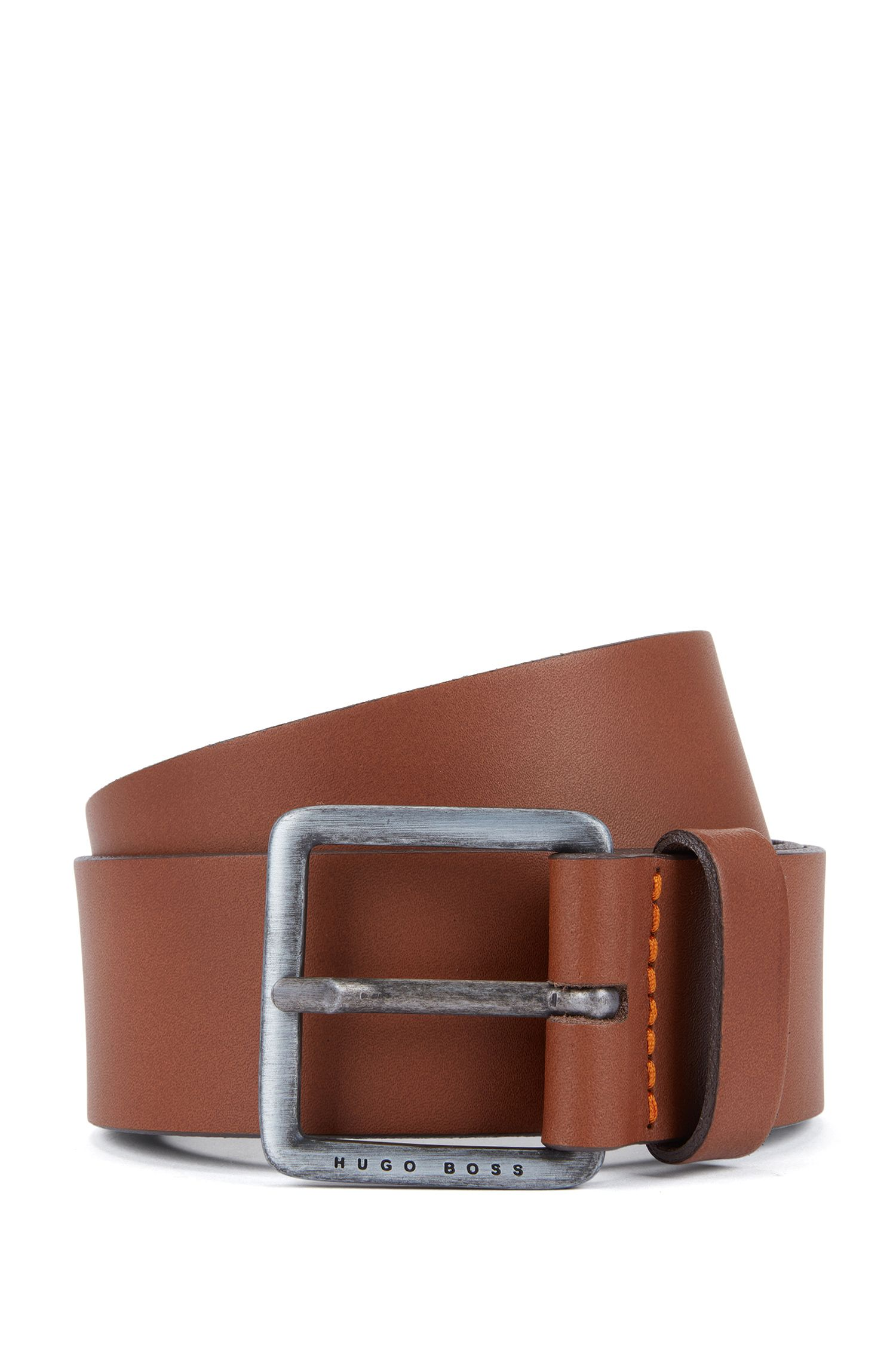 Leather belt with signature stitching