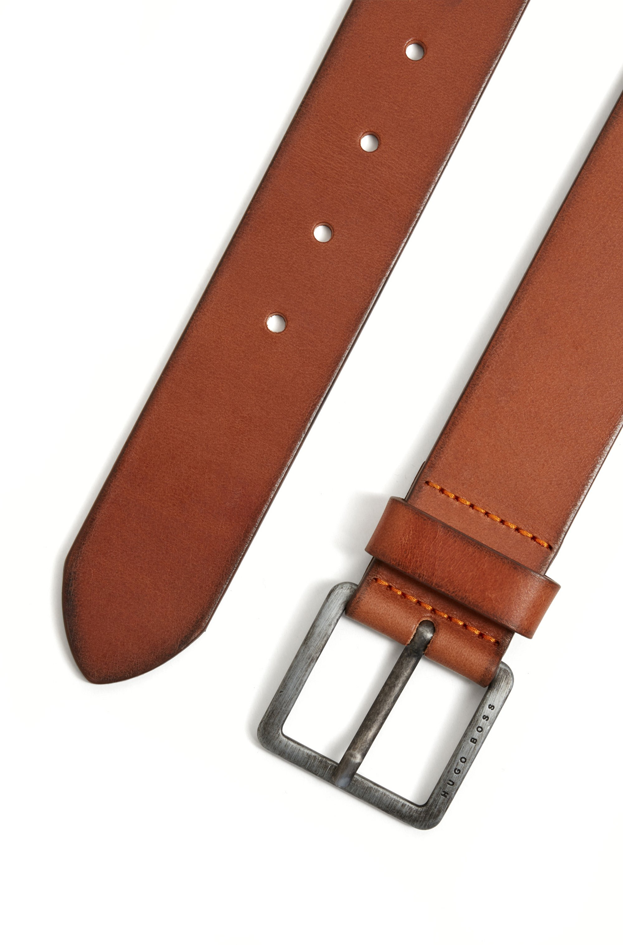 Smooth-leather belt with brushed-effect buckle