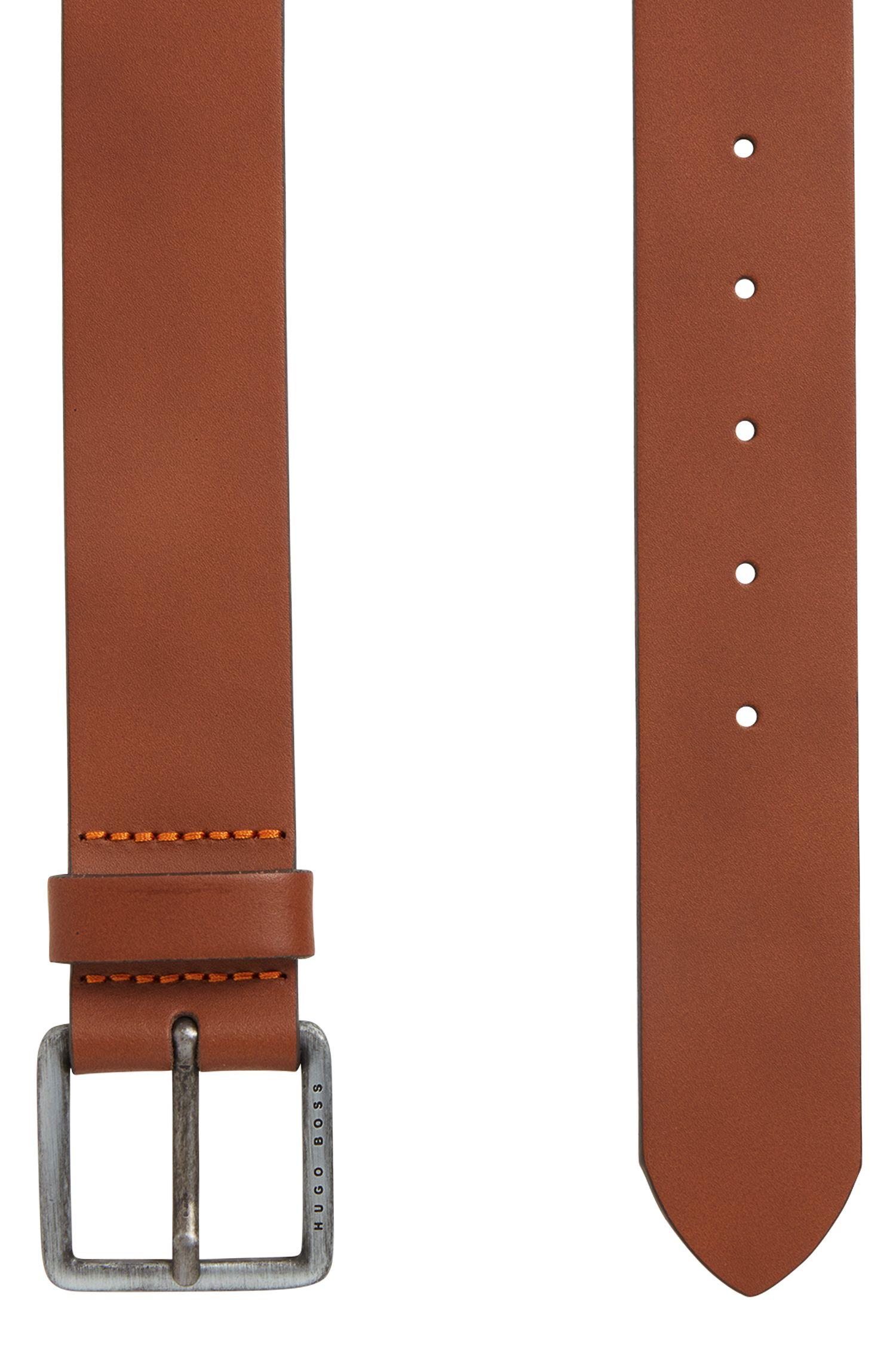 Cinturón de piel con costuras de la marca, Marrón
