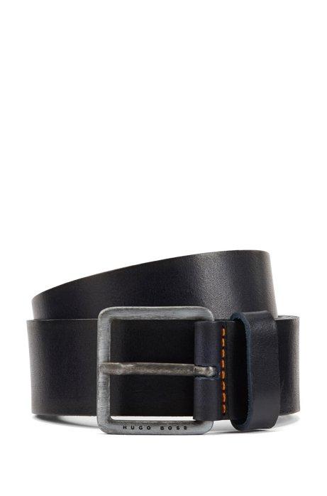 Leather belt with signature stitching, Dark Blue