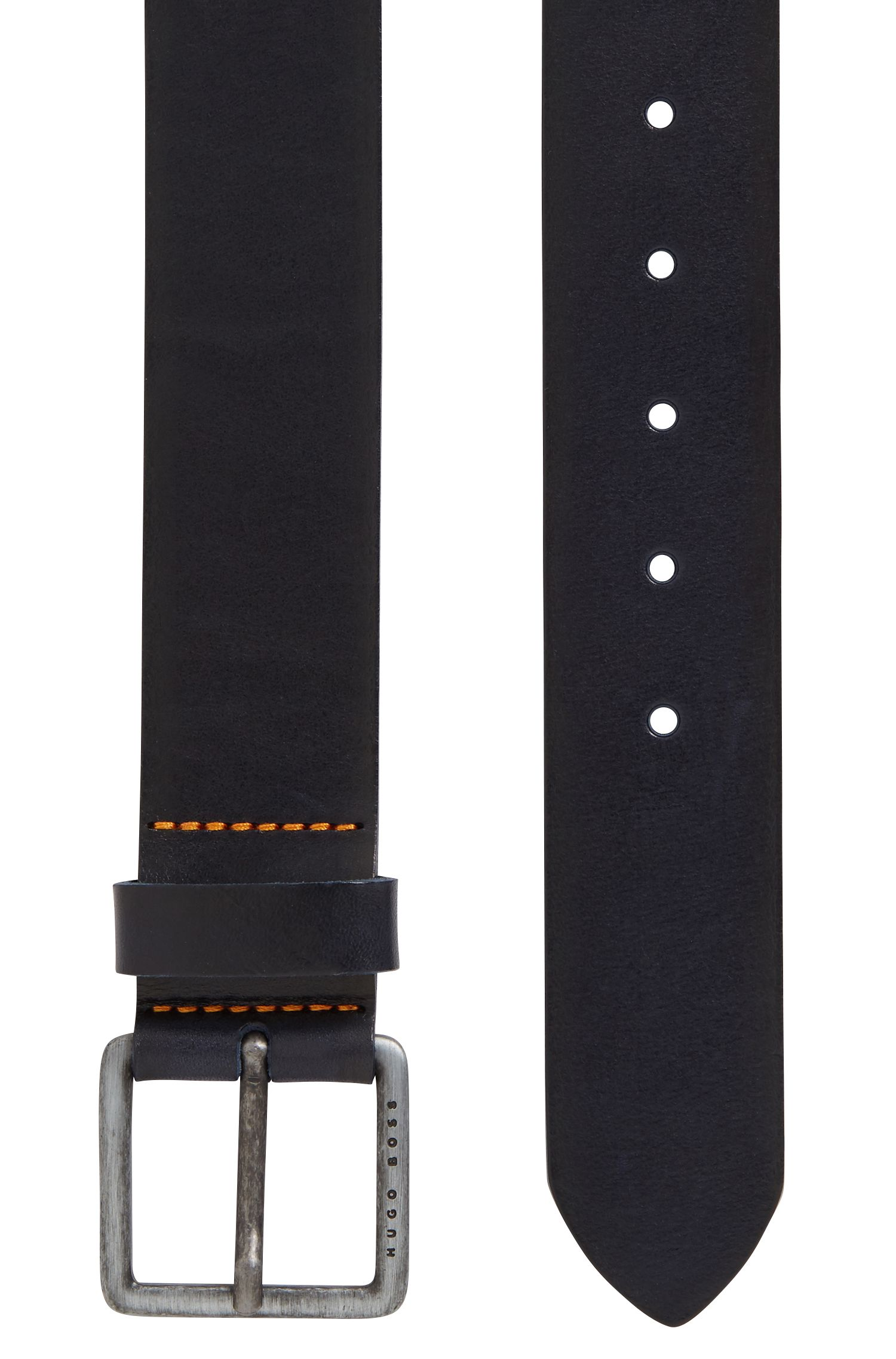 Leather belt with signature stitching, Dark Blue