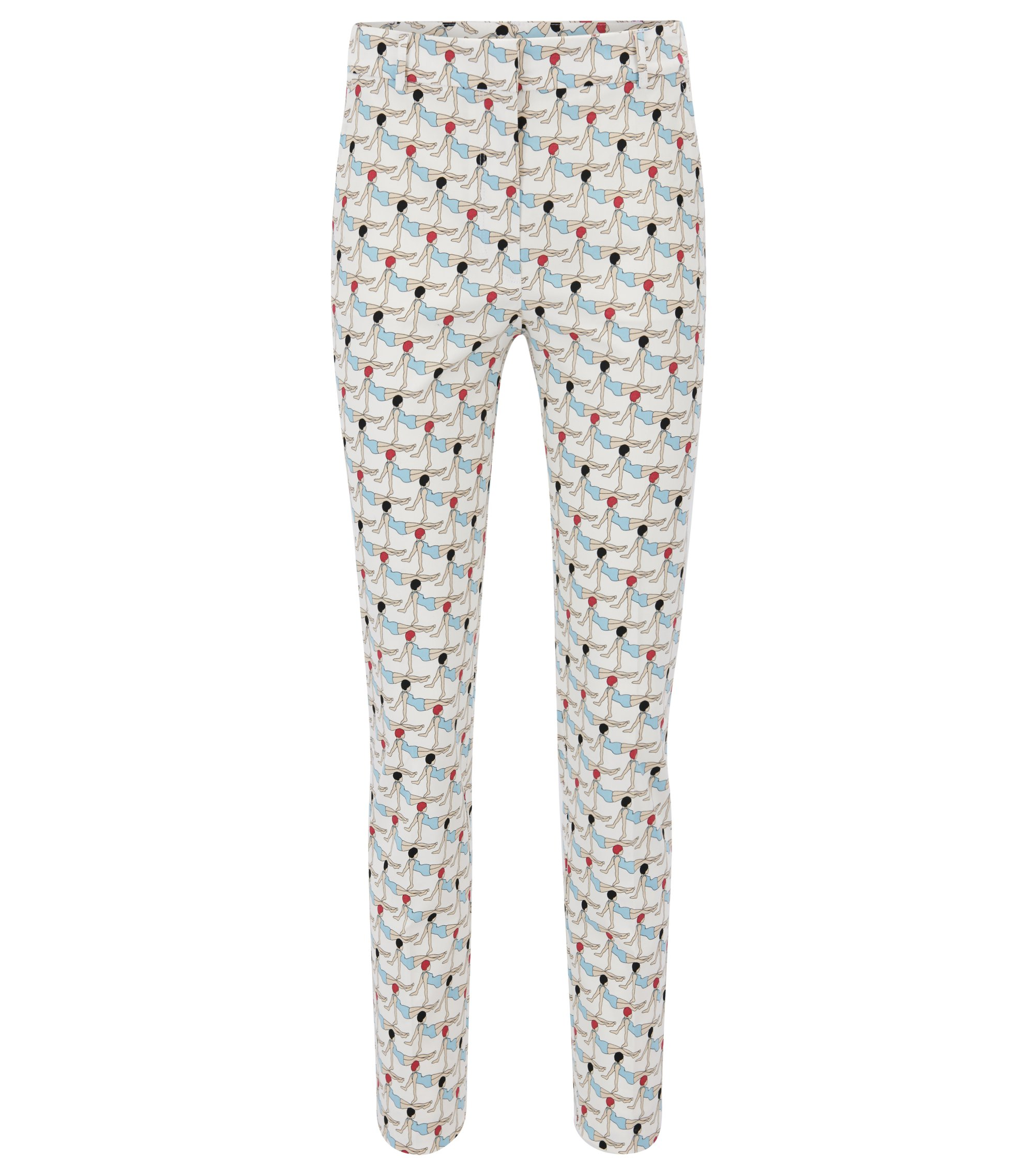 Pantalon Regular Fit en coton stretch imprimé, Fantaisie