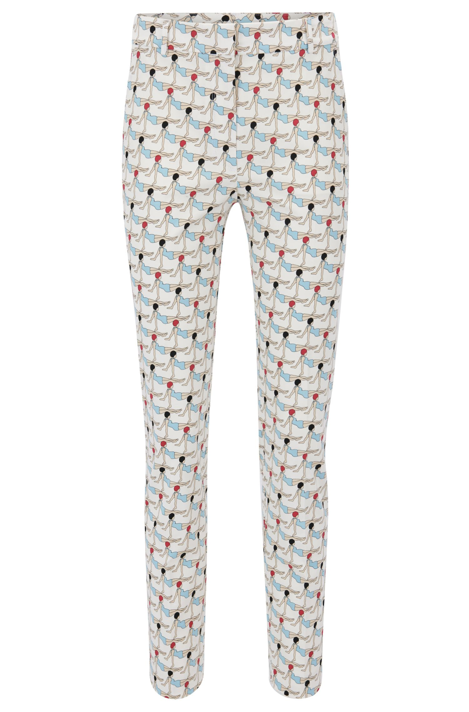 Pantalon Regular Fit en coton stretch imprimé