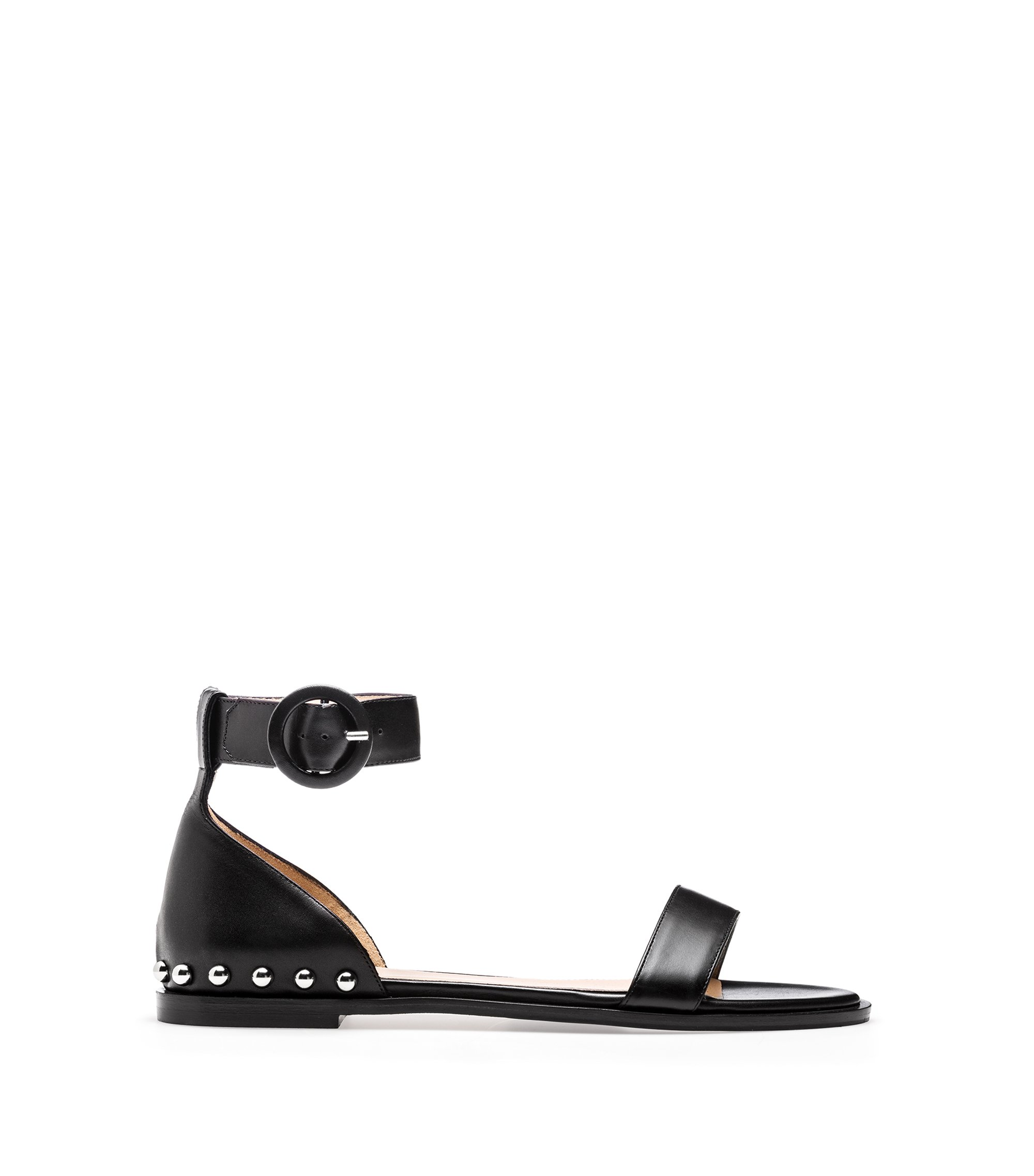 Calf-leather sandals with metal stud detailing, Black