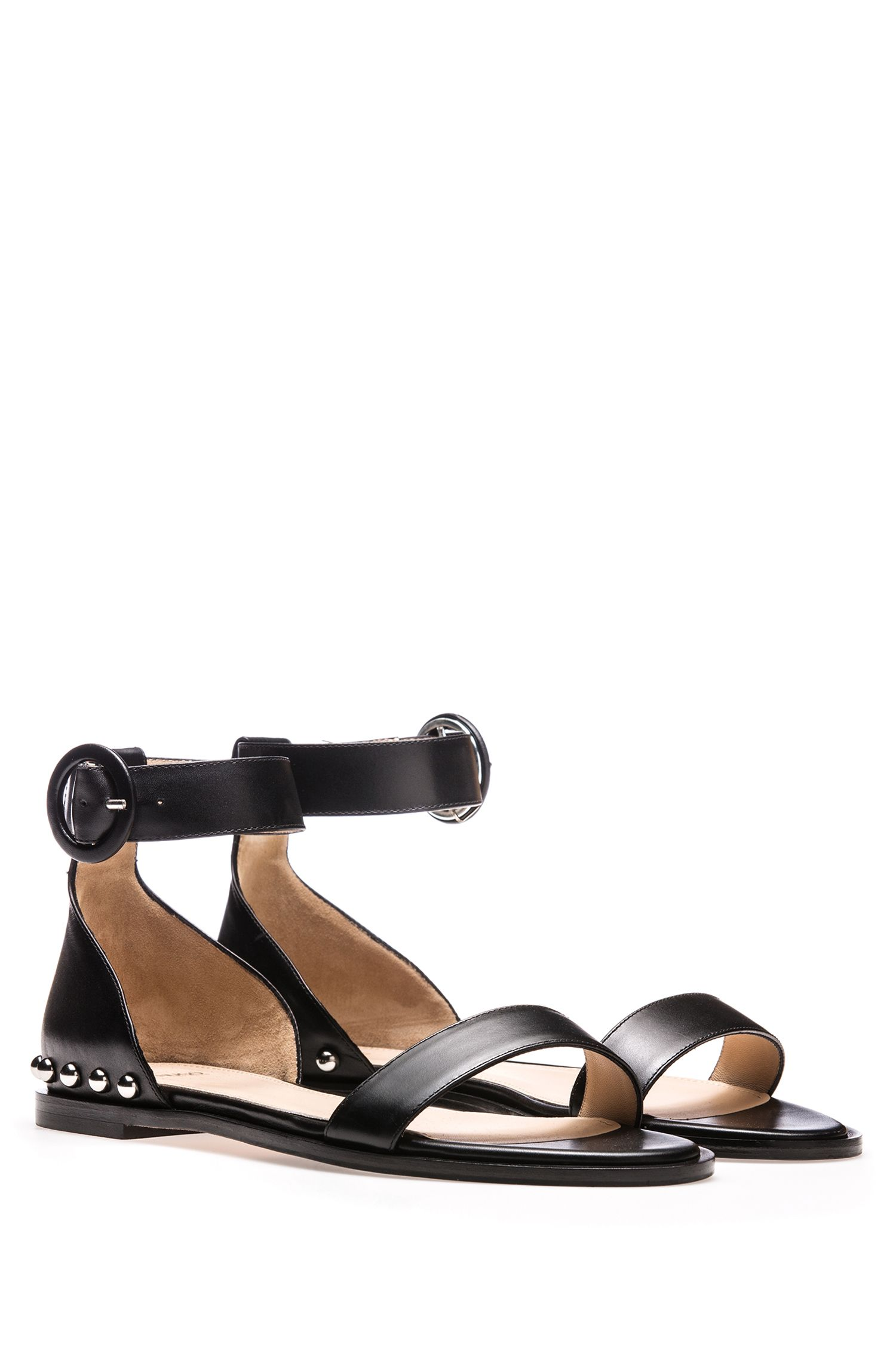 Calf-leather sandals with metal stud detailing