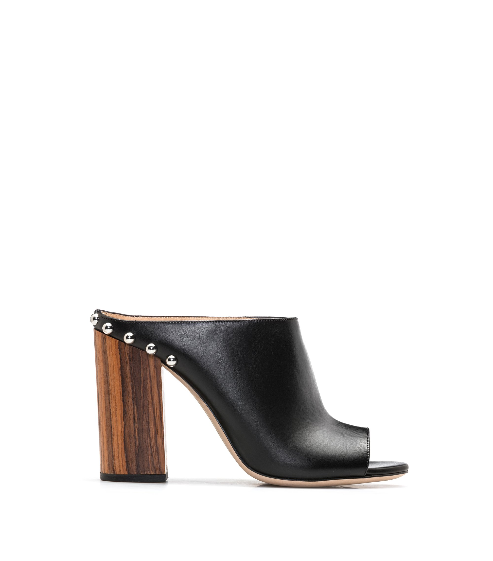 Leather open-toe mules with block heel, Black