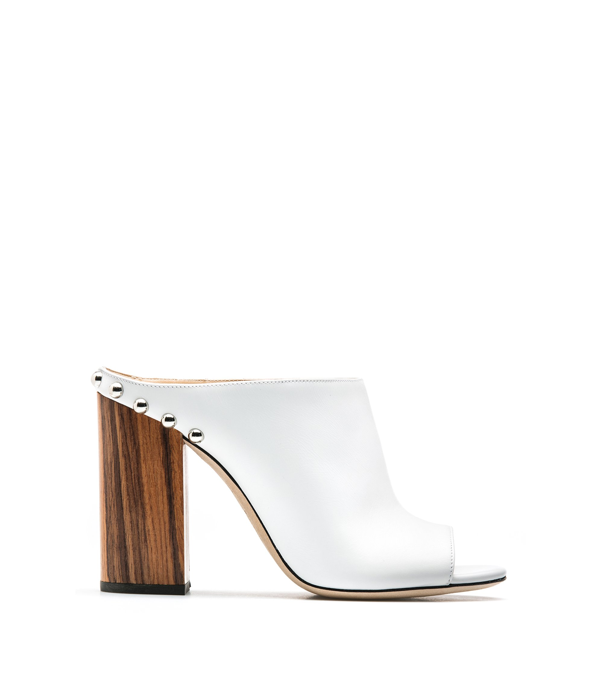 Leather open-toe mules with block heel, White