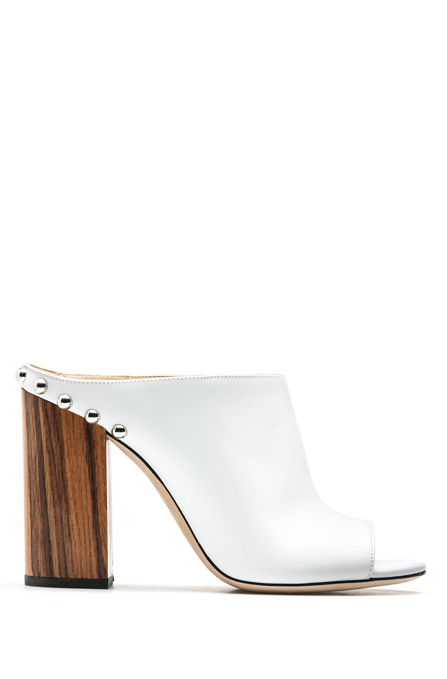 Leather open-toe mules with block heel