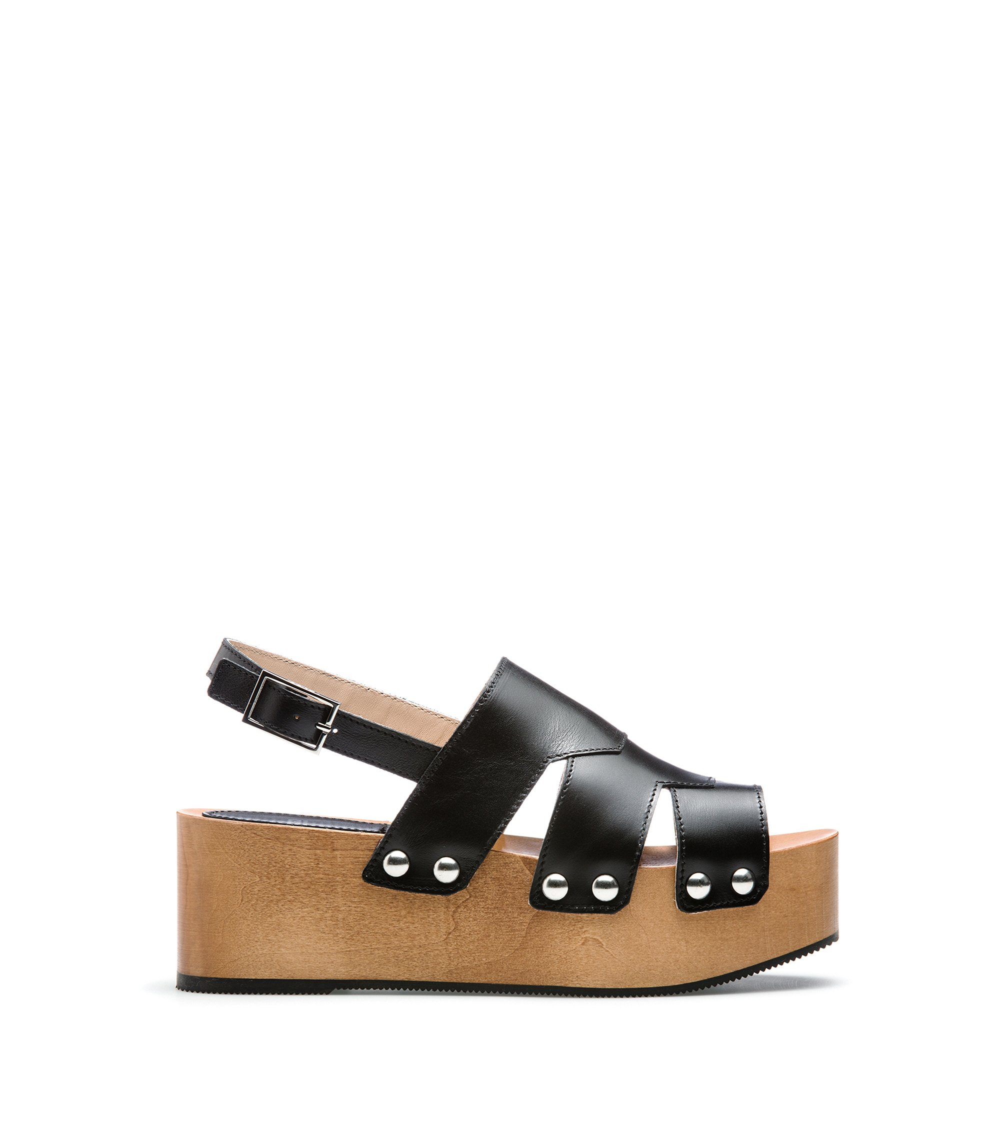 Leather platform sandals with stud detailing, Black