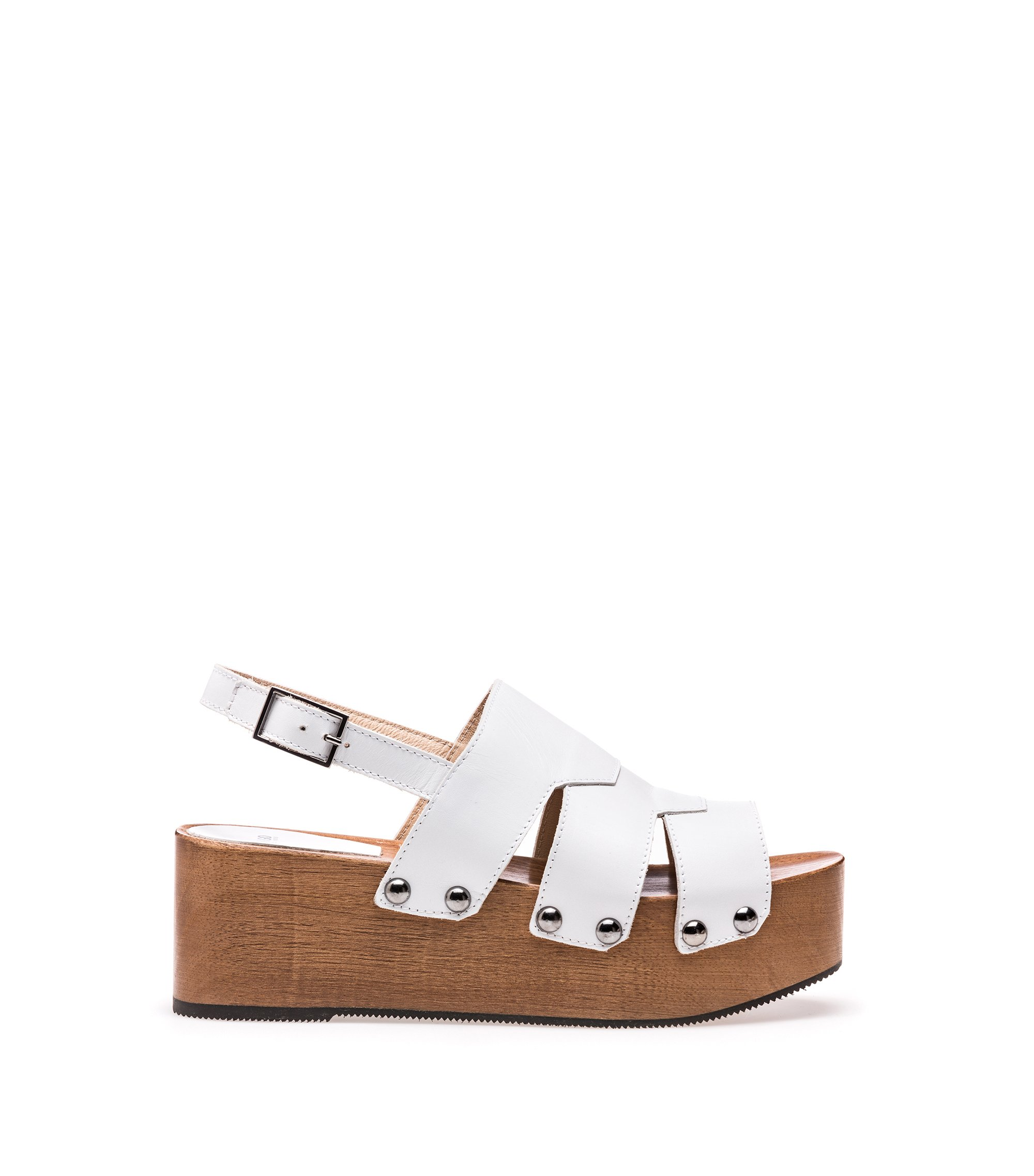 Leather platform sandals with stud detailing, White