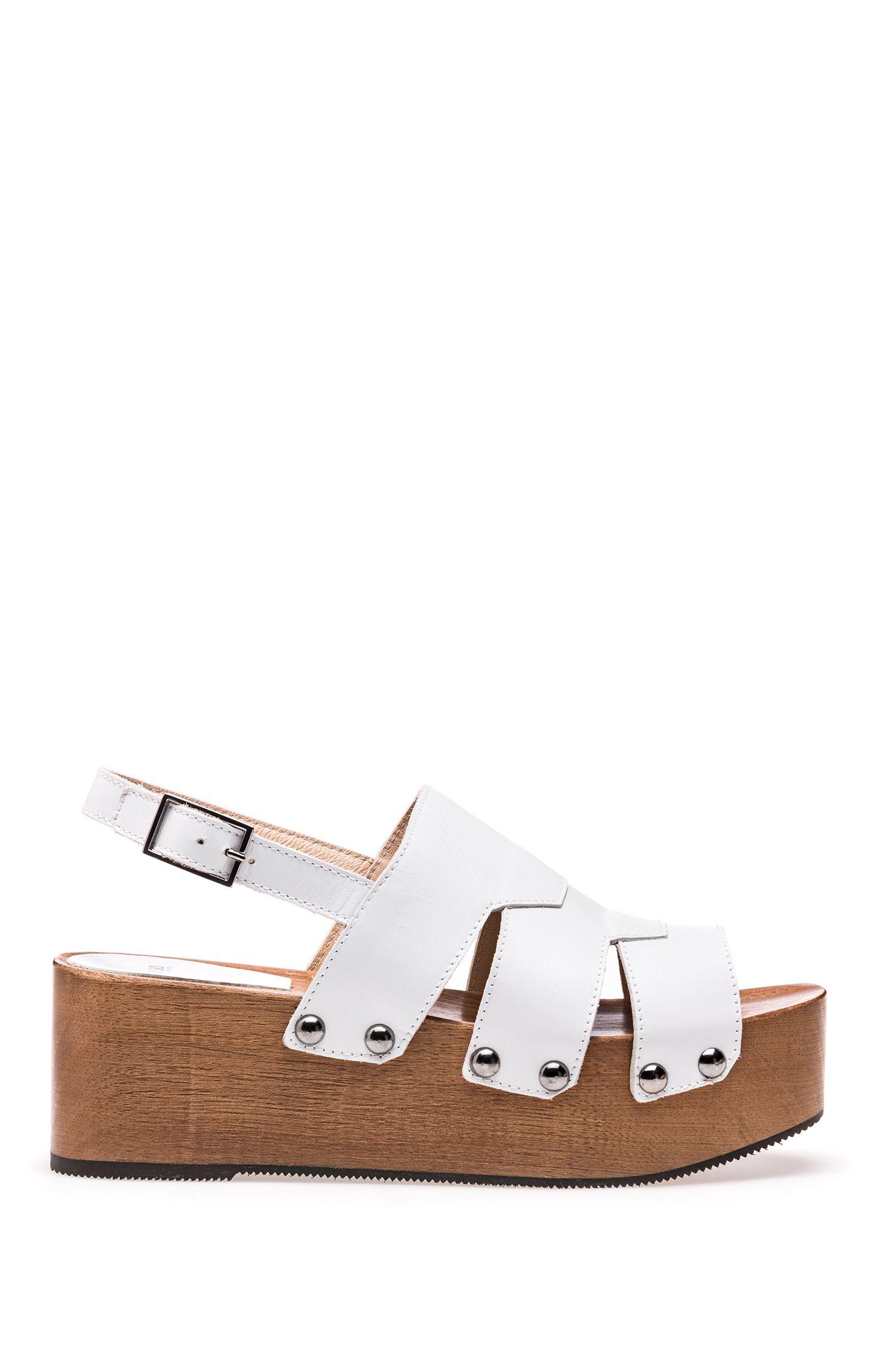 Leather platform sandals with stud detailing