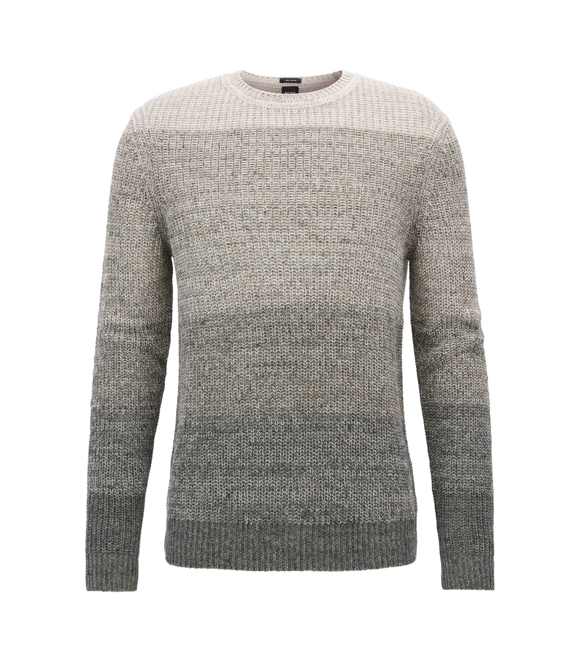 Pullover aus Leinen-Mix mit Baumwolle mit Perlfang-Struktur, Dunkelgrün