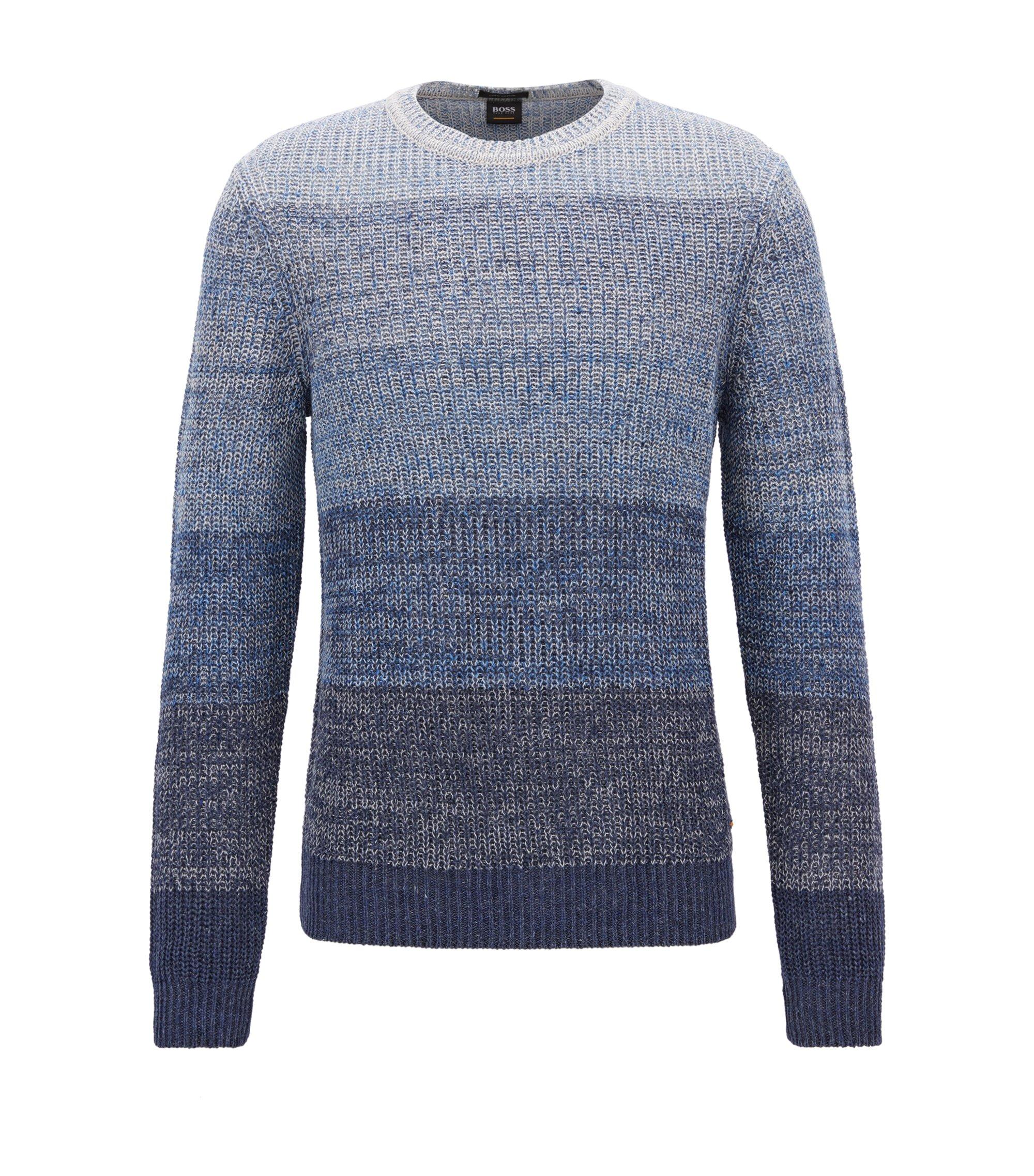Pullover aus Leinen-Mix mit Baumwolle mit Perlfang-Struktur, Dunkelblau