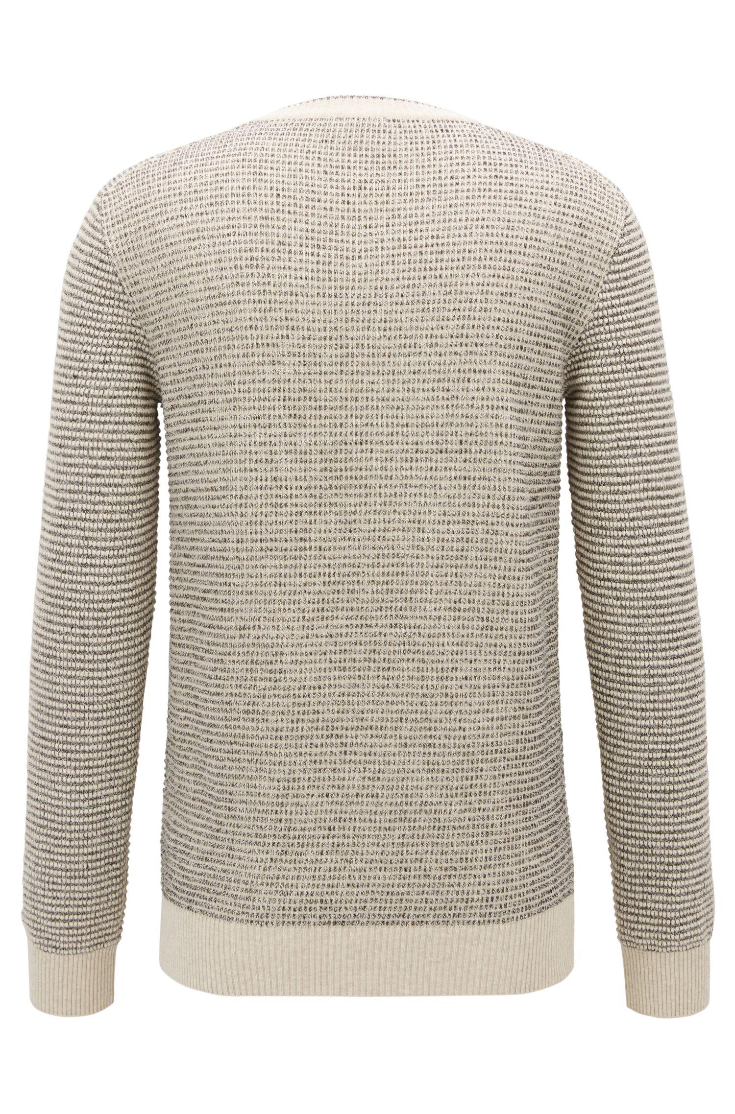 Jersey en mezcla de algodón con textura y cuello en pico