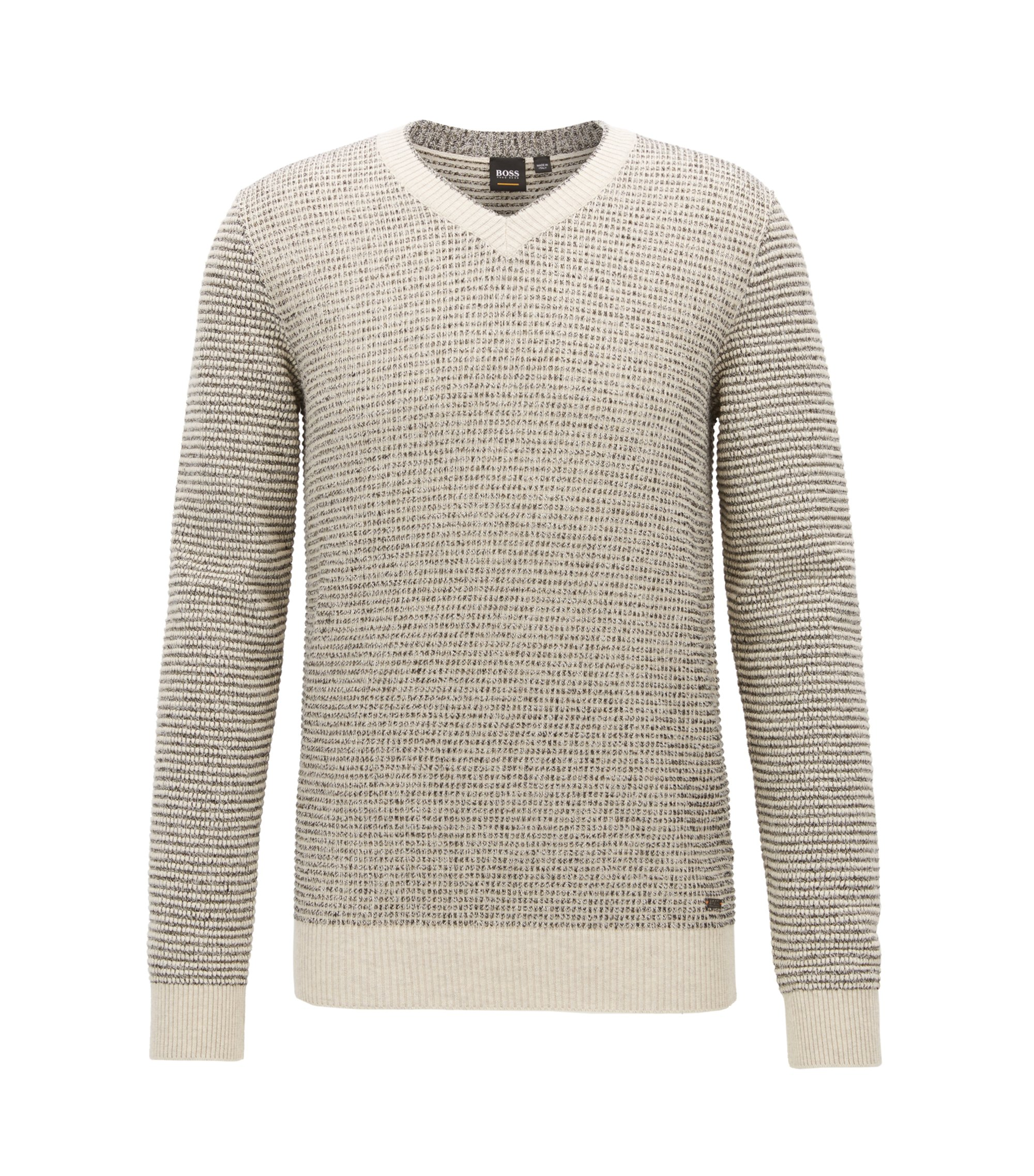 V-neck sweater in a structured cotton blend, Natural