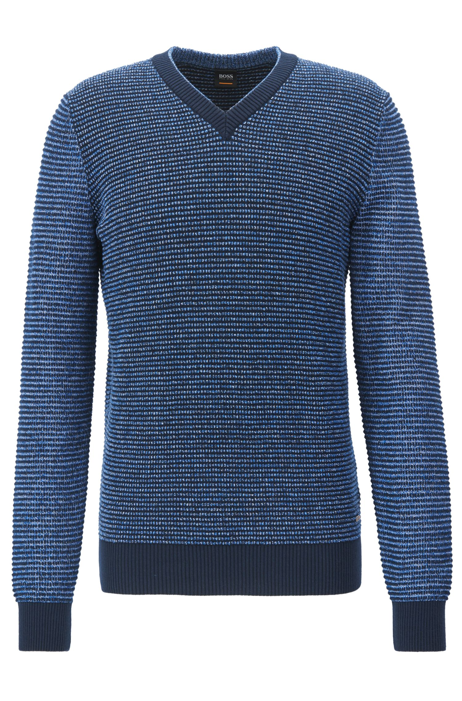 V-neck sweater in a structured cotton blend