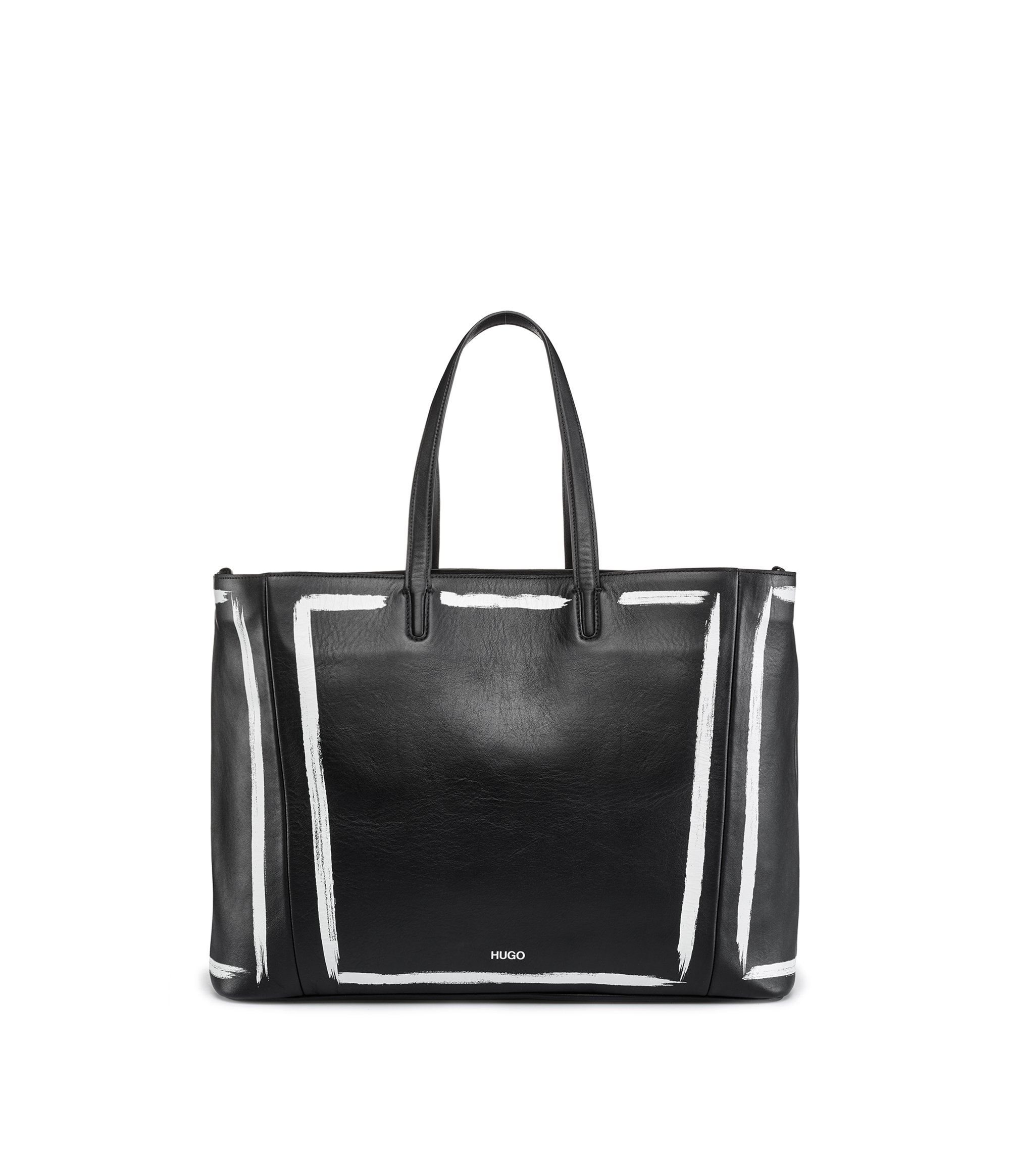 Print-detail shopper bag in semi-aniline leather, Black